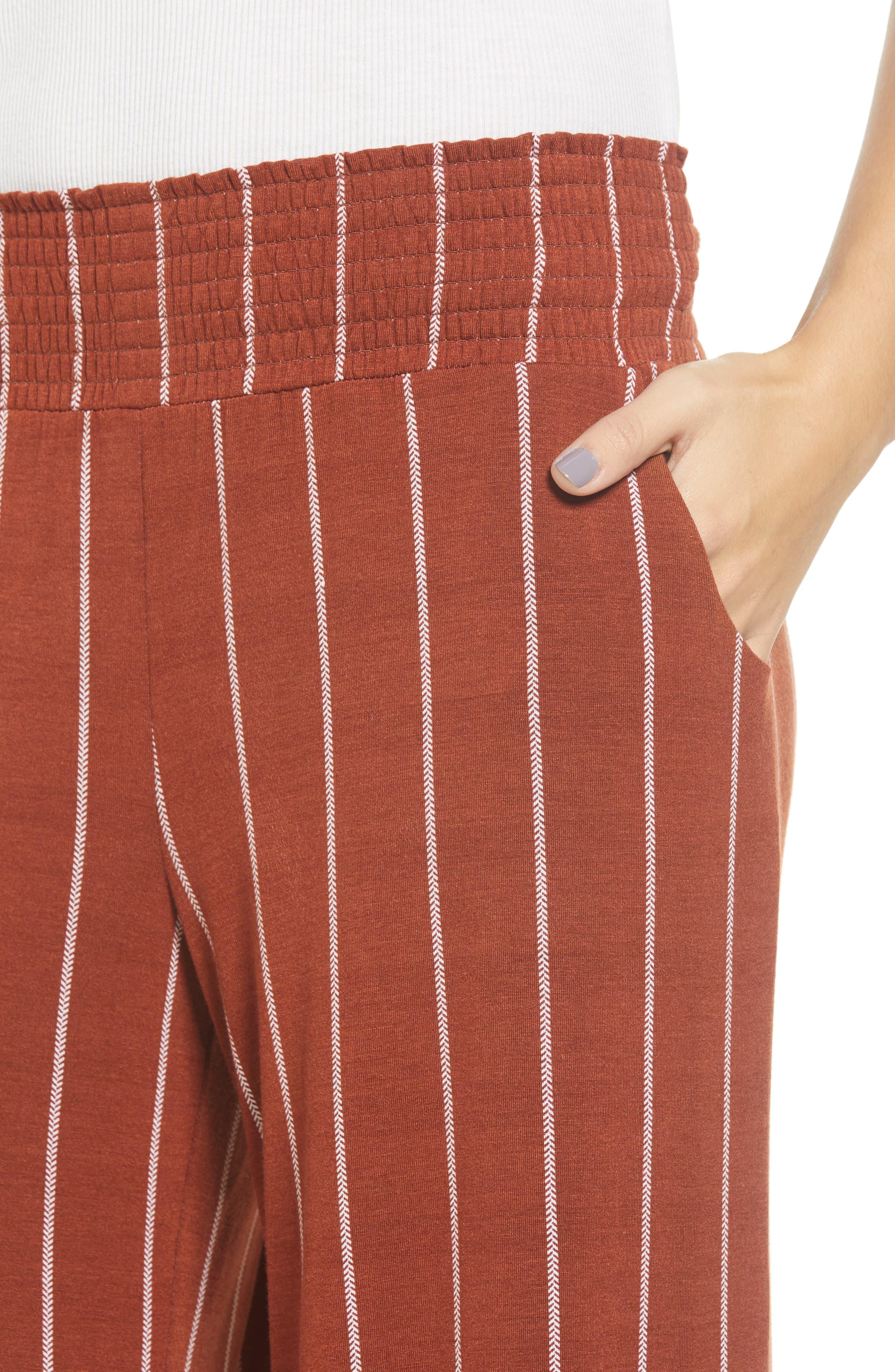 Stripe Knit Wide Leg Pants,                             Alternate thumbnail 4, color,                             SEQUOIA