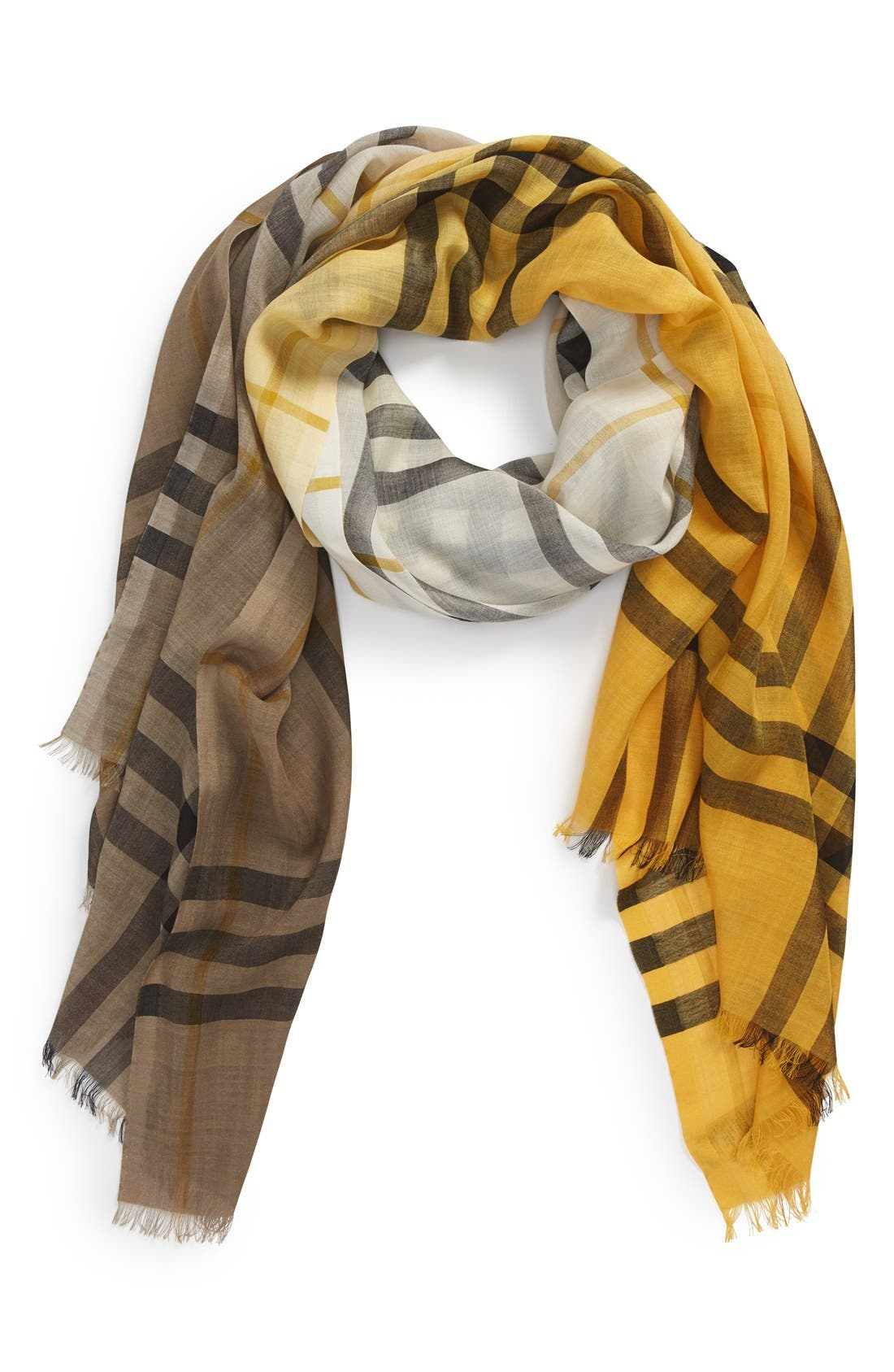 Ombré Check Wool & Silk Scarf,                             Main thumbnail 4, color,