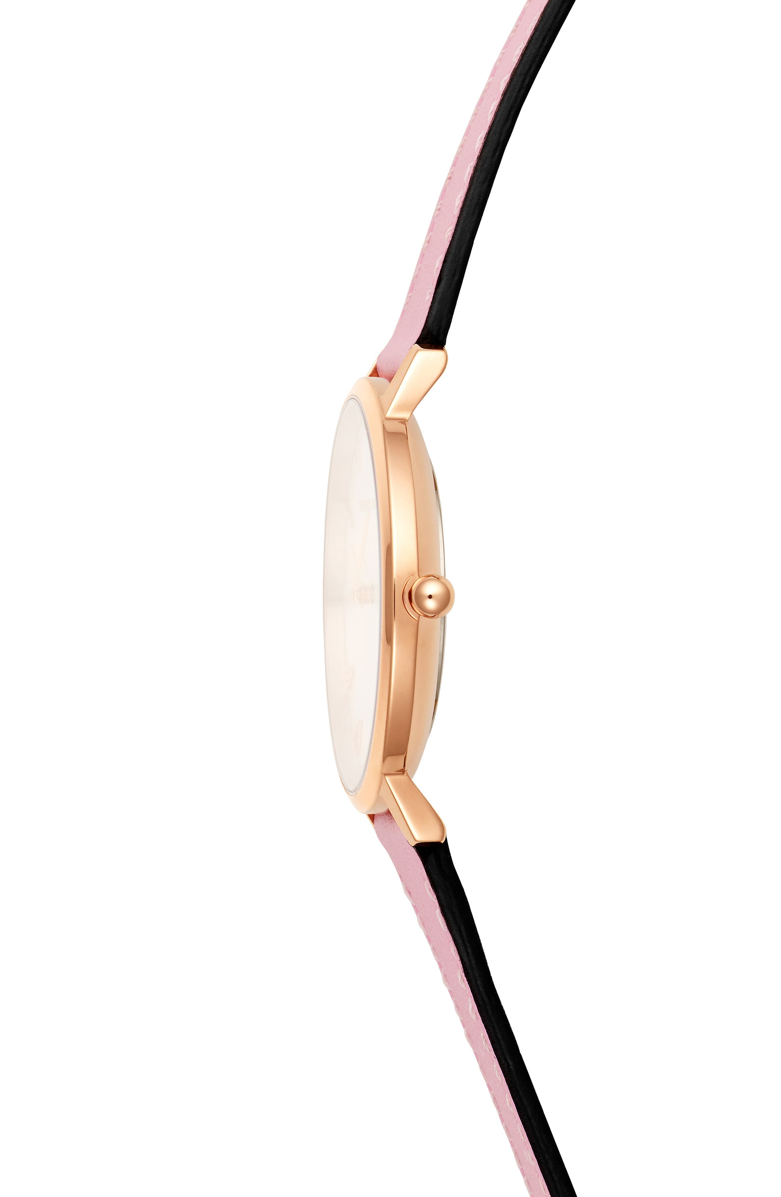 Major Leather Strap Watch, 35mm,                             Alternate thumbnail 3, color,                             PINK/ SILVER WHITE/ ROSE GOLD