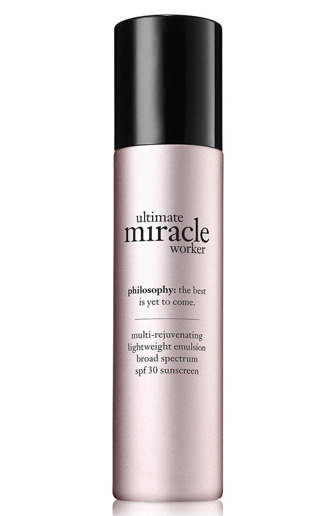 'ultimate miracle worker' multi-rejuvenating lightweight emulsion broad spectrum SPF 30 sunscreen,                             Main thumbnail 1, color,                             000