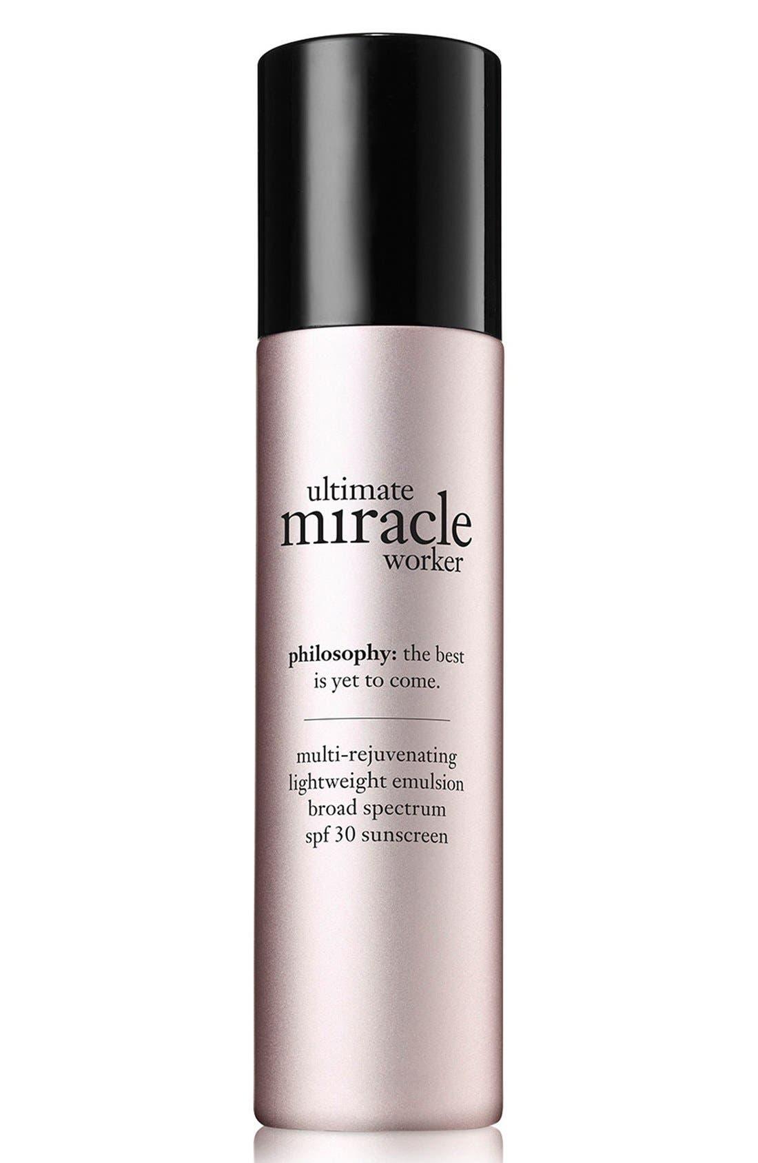 'ultimate miracle worker' multi-rejuvenating lightweight emulsion broad spectrum SPF 30 sunscreen,                         Main,                         color, 000