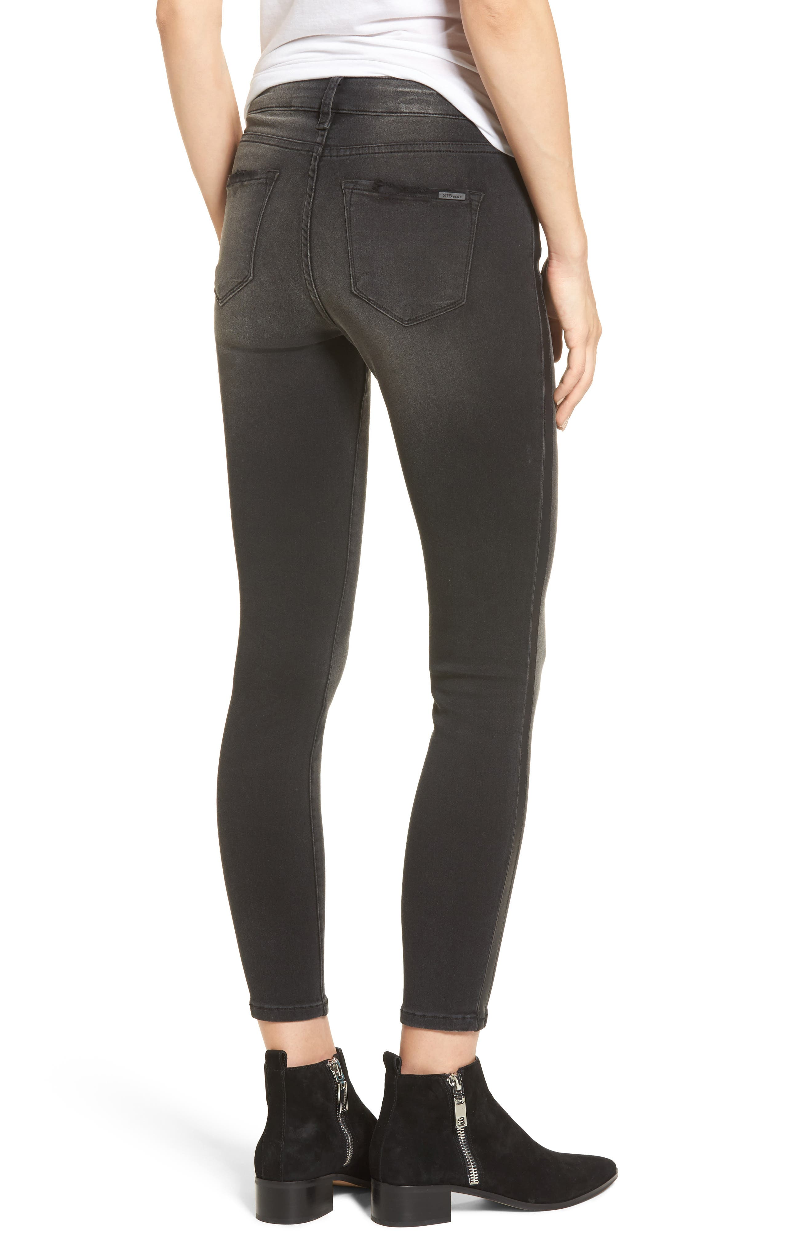 Faux Leather Stripe Skinny Jeans,                             Alternate thumbnail 2, color,                             001
