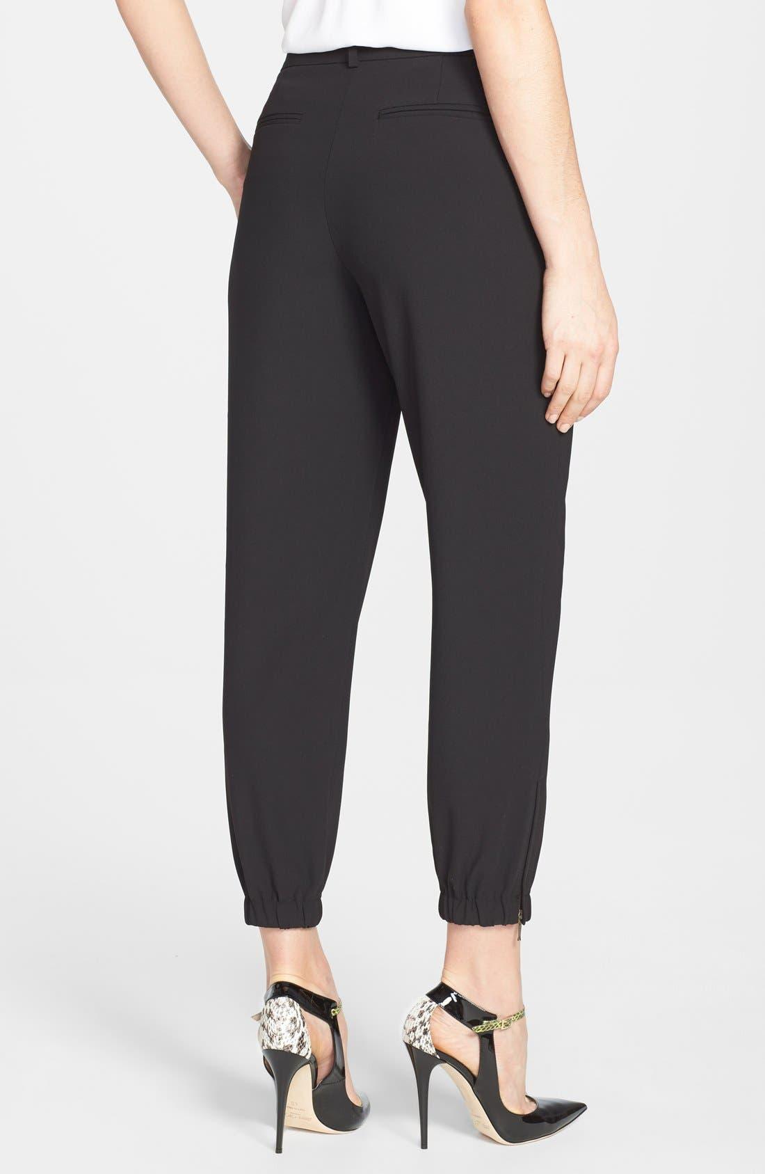 Elastic Cuff Pleated Pants,                             Alternate thumbnail 4, color,                             001