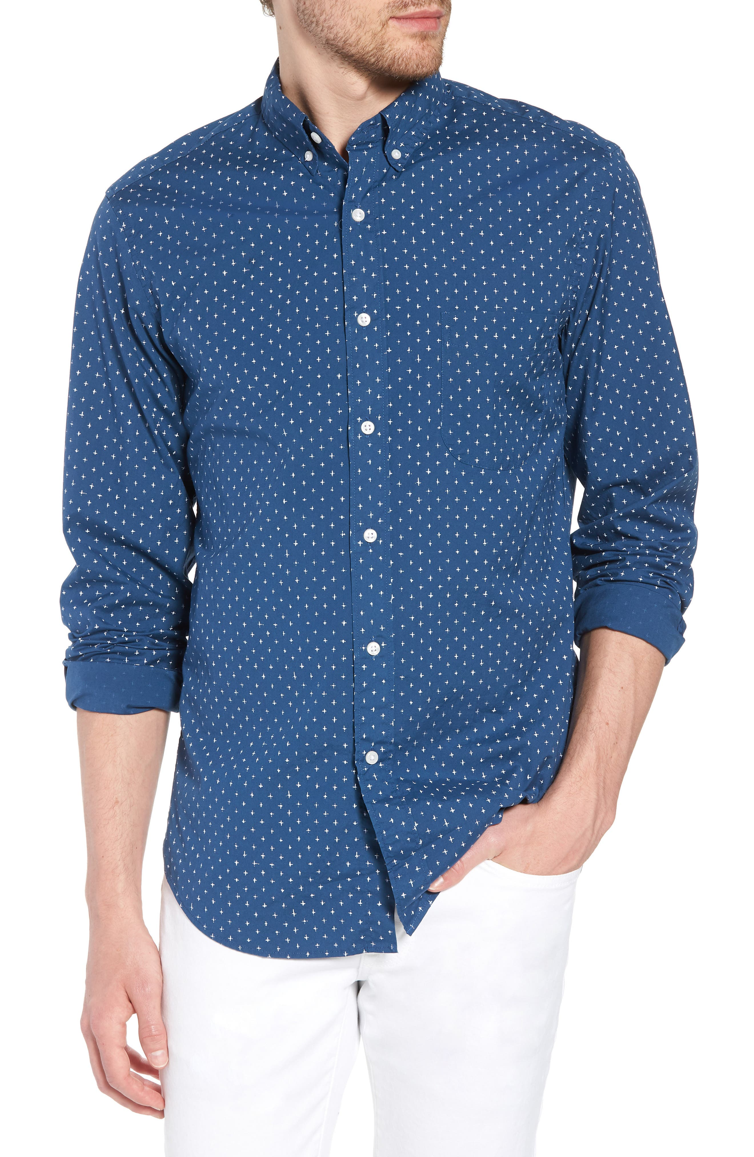 Slim Fit Stretch Secret Wash Crosshatch Print Sport Shirt,                         Main,                         color,