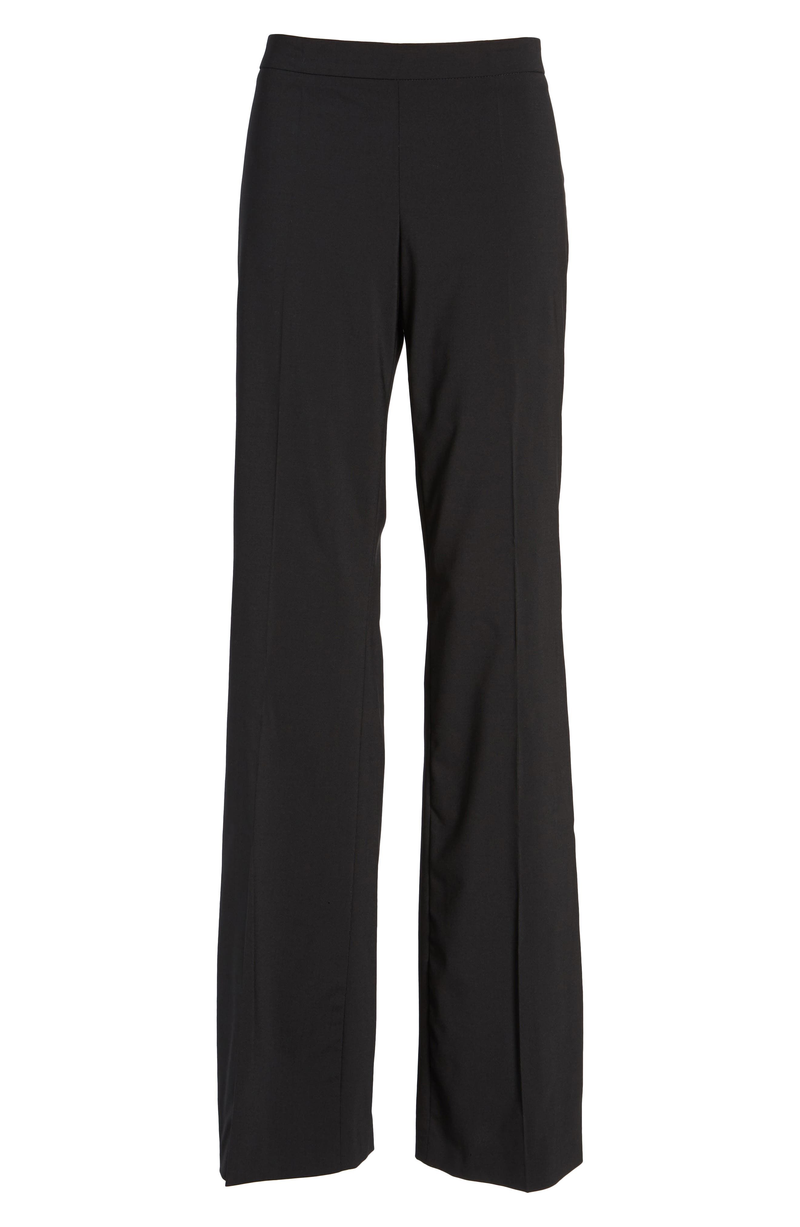 Tulea Side Zip Tropical Stretch Wool Trousers,                             Alternate thumbnail 7, color,                             BLACK