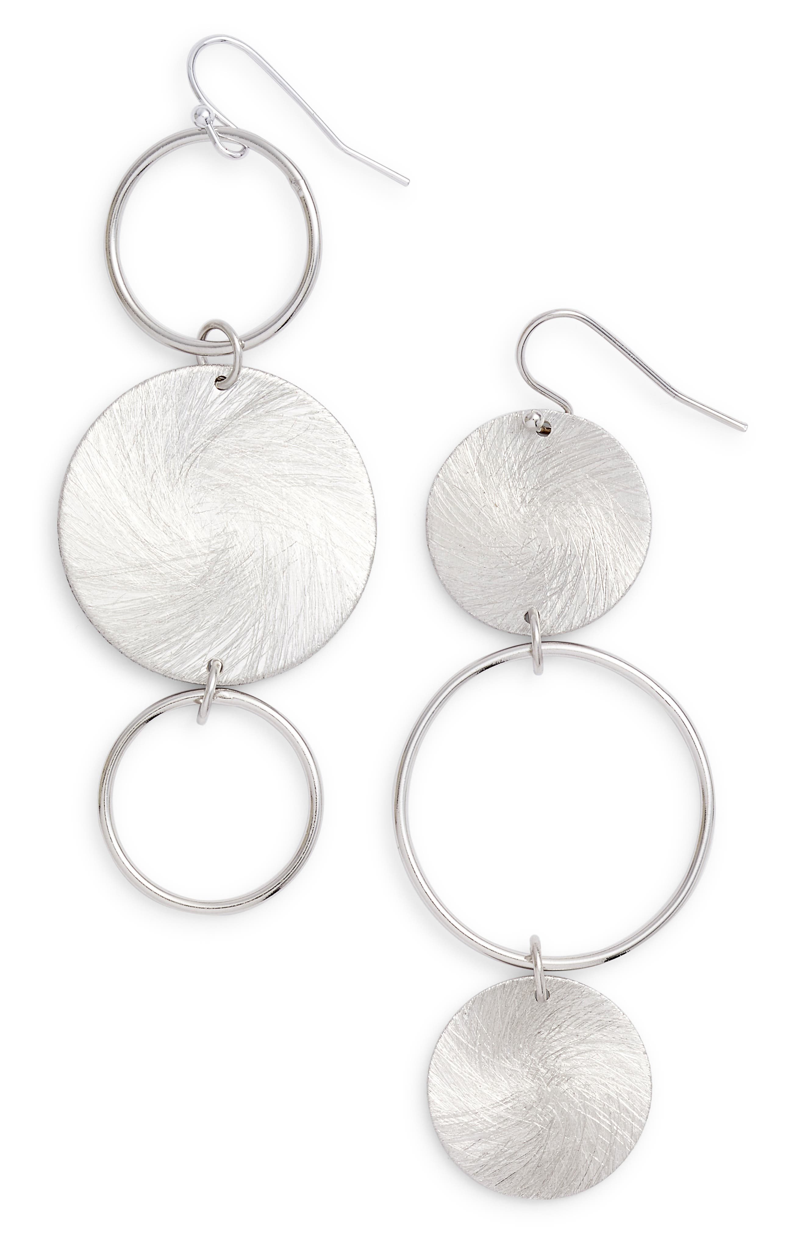 Brushed Disc Linear Earrings,                             Main thumbnail 1, color,