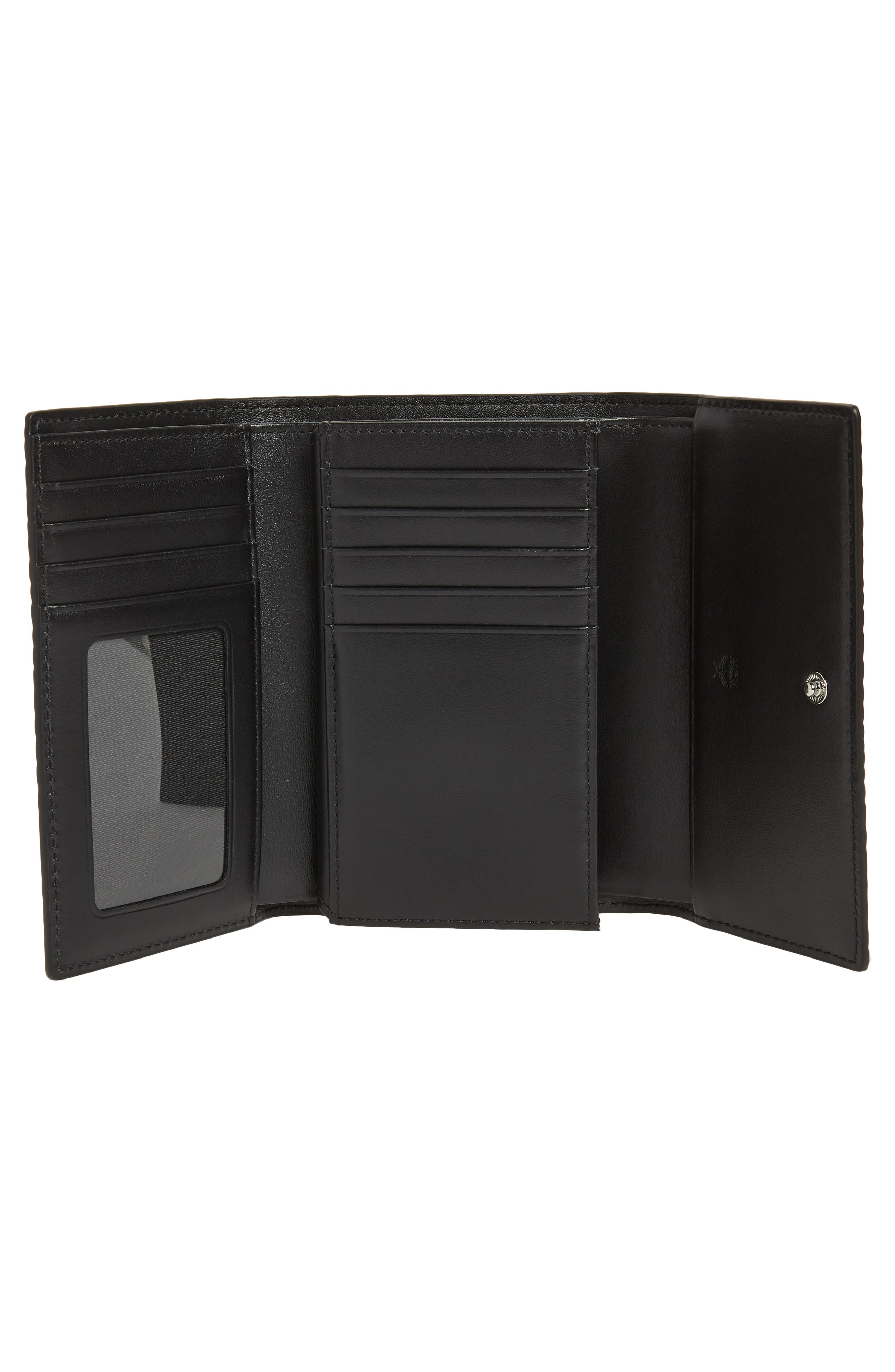 Small French Trifold Wallet,                             Alternate thumbnail 4, color,                             BLACK