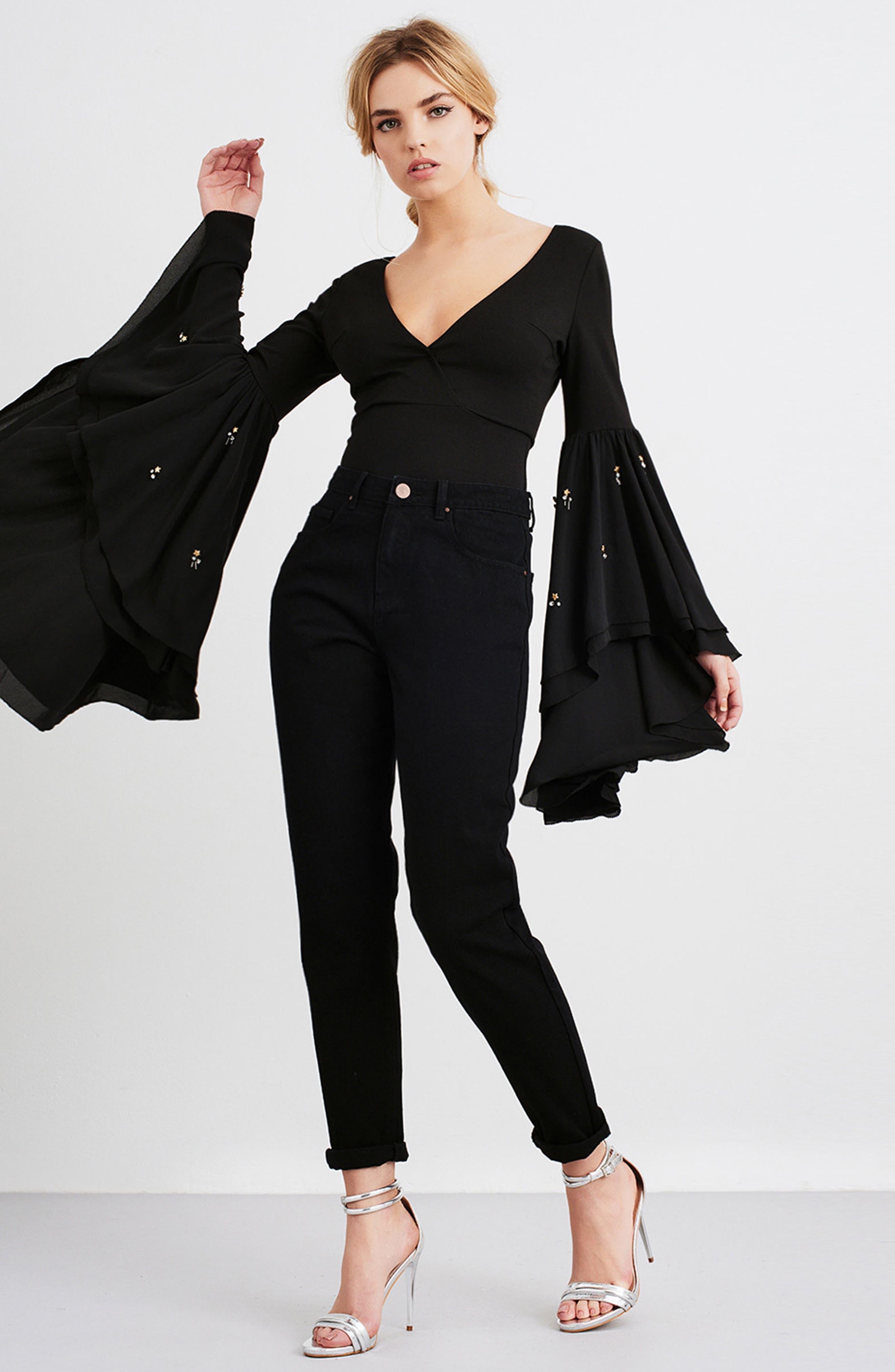Embellished Flare Sleeve Bodysuit,                             Alternate thumbnail 7, color,