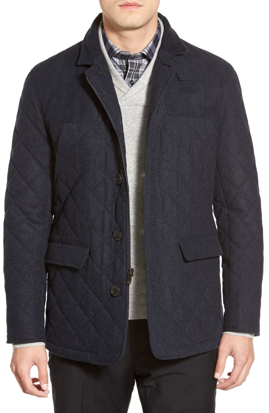 'Shooter' Wool Blend Quilted Jacket,                             Main thumbnail 3, color,