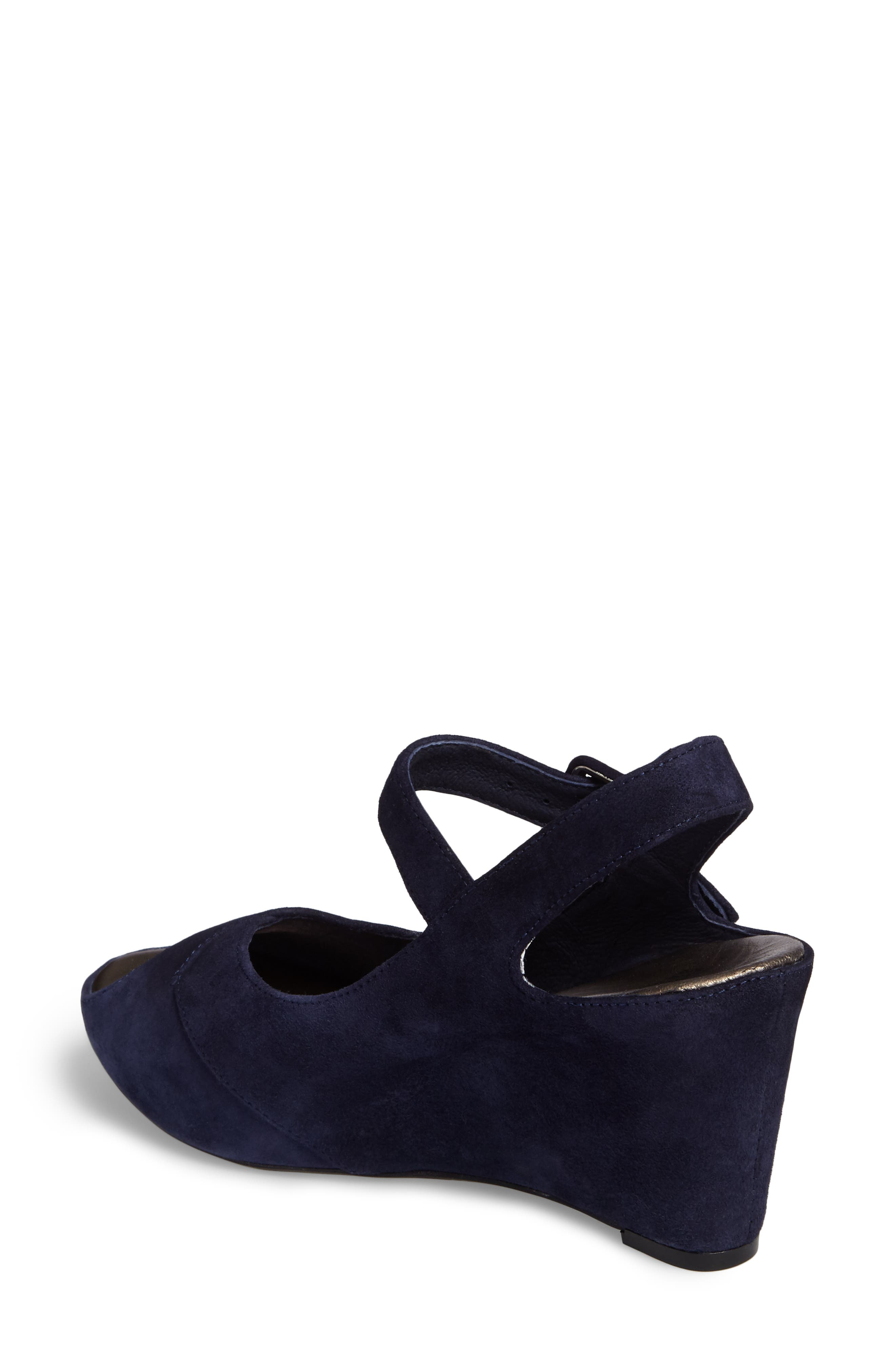 Tara Platform Wedge Sandal,                             Alternate thumbnail 2, color,                             NAVY SUEDE