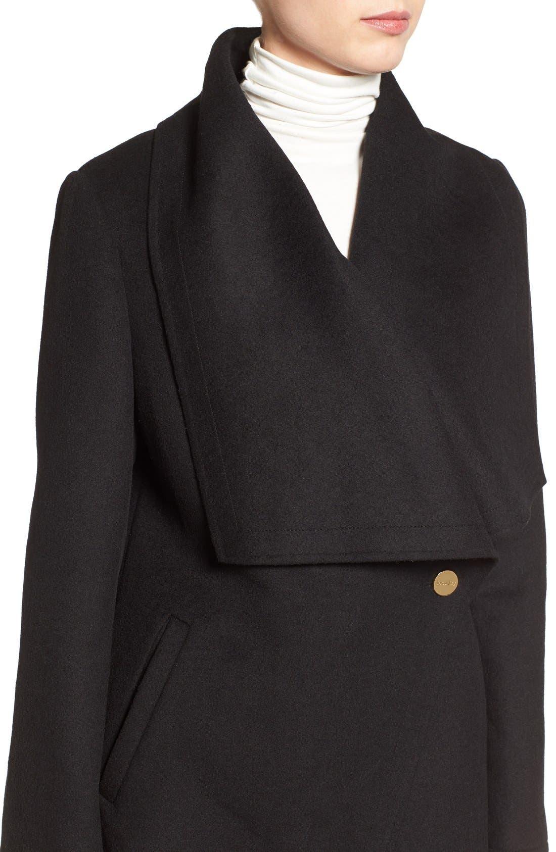 Double Face Drape Collar Coat,                             Alternate thumbnail 2, color,                             001