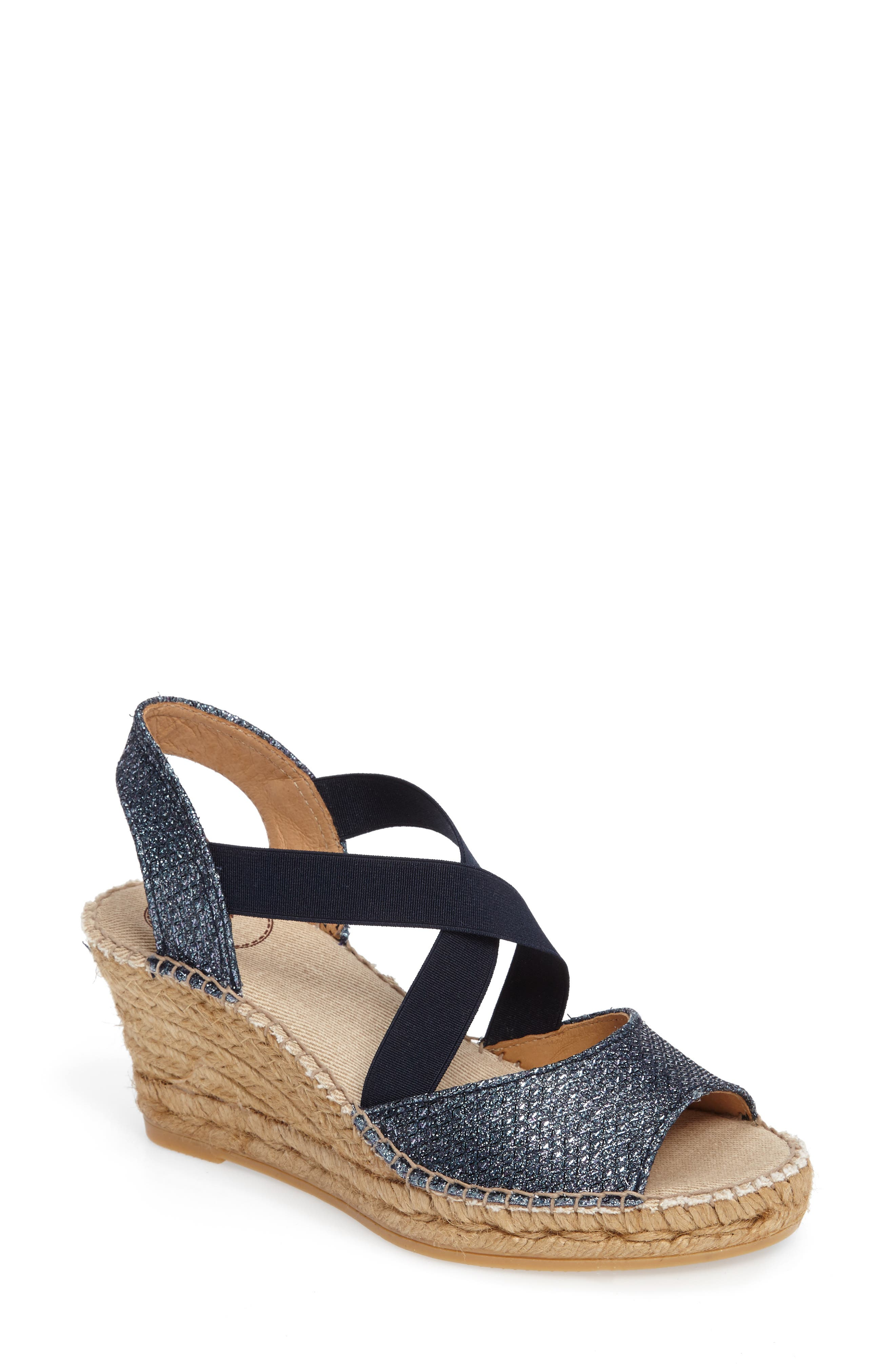 Sol Wedge Espadrille Sandal,                             Main thumbnail 1, color,                             NAVY FABRIC