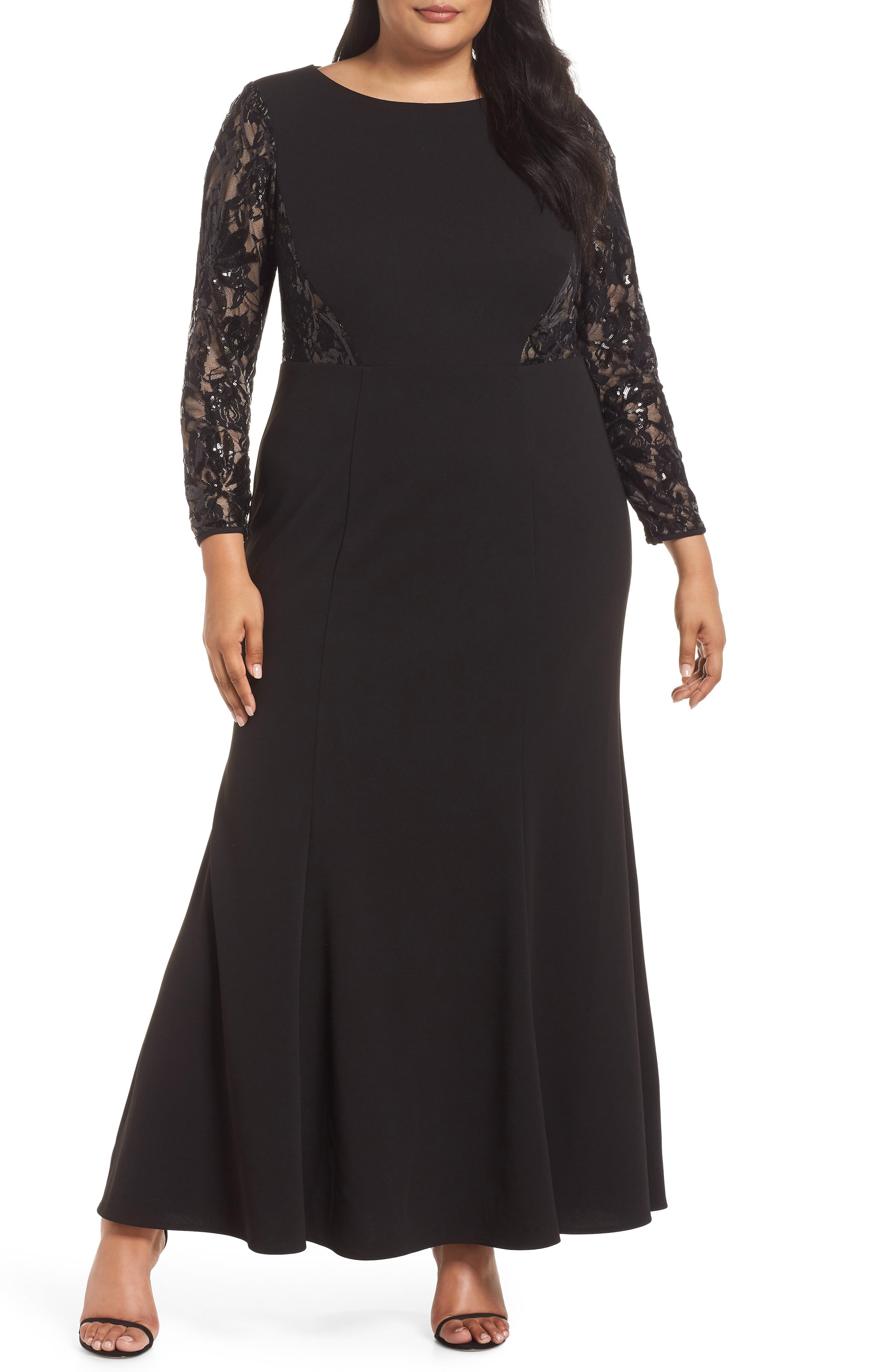 Lace Inset Gown, Main, color, 001