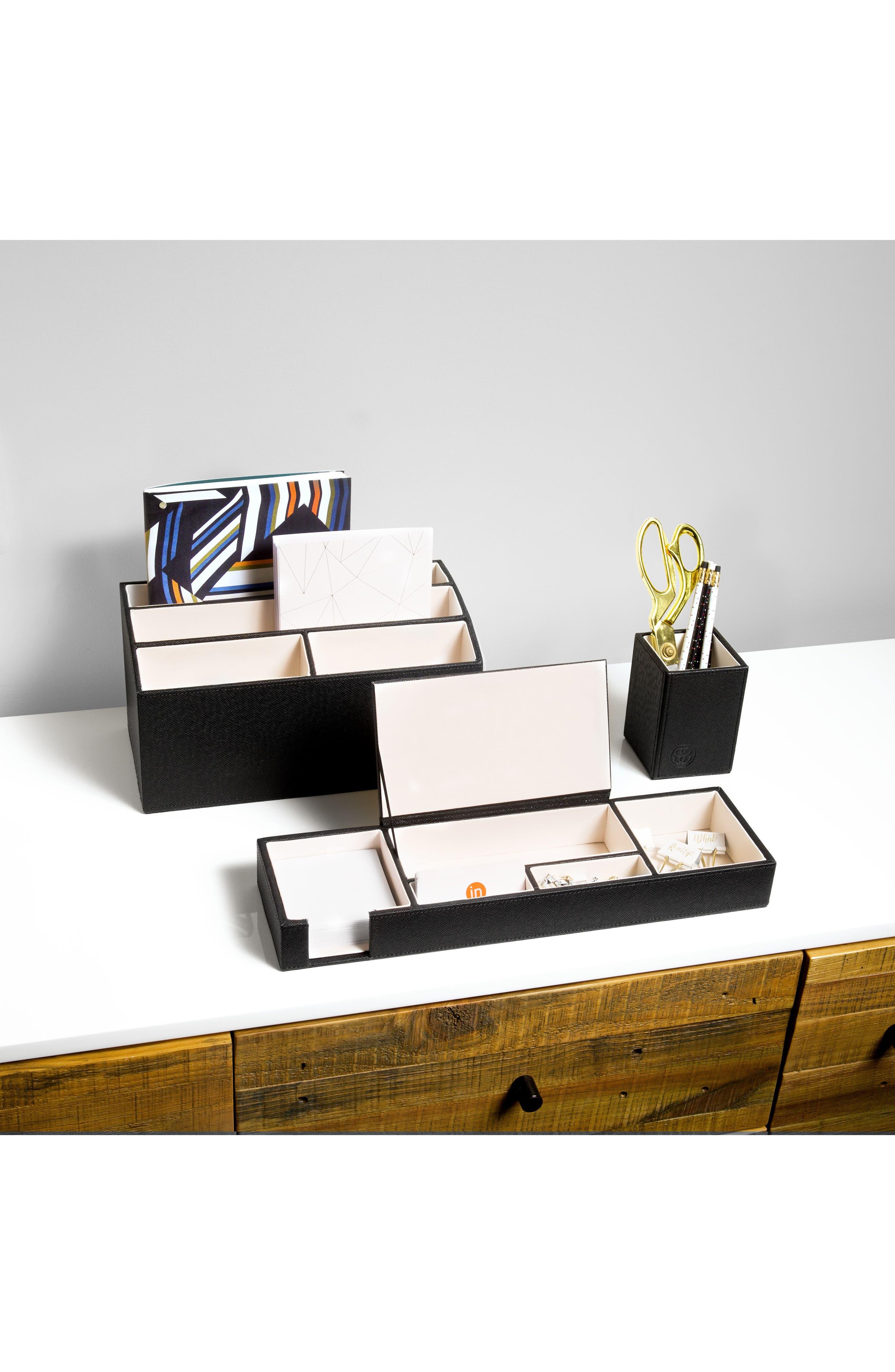 3-Piece Desk Organizer Set,                             Alternate thumbnail 2, color,                             BLACK/ IVORY