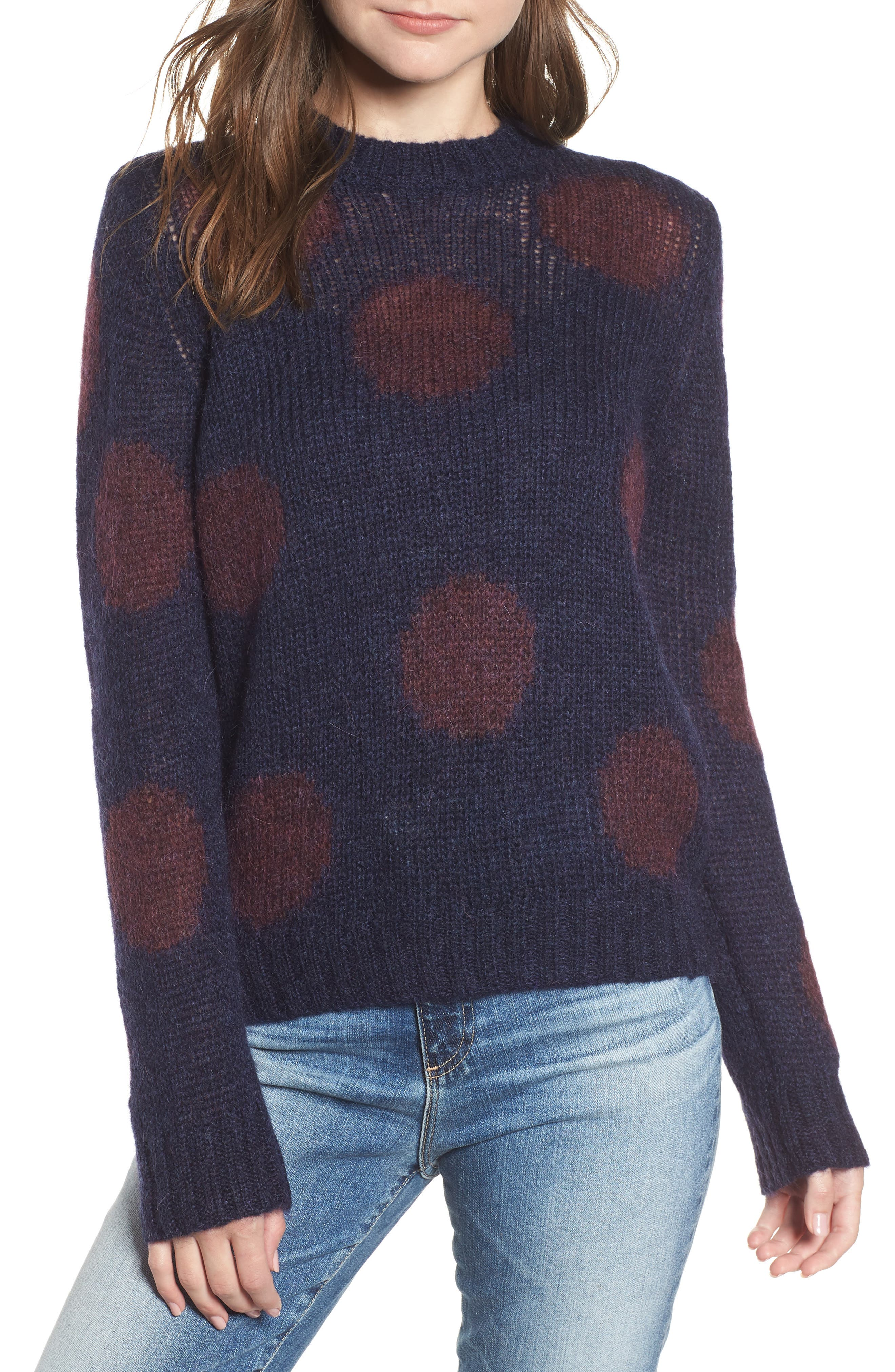 Ansley Crewneck Sweater,                         Main,                         color, BLUE VAULT/ RICH CHARMINE