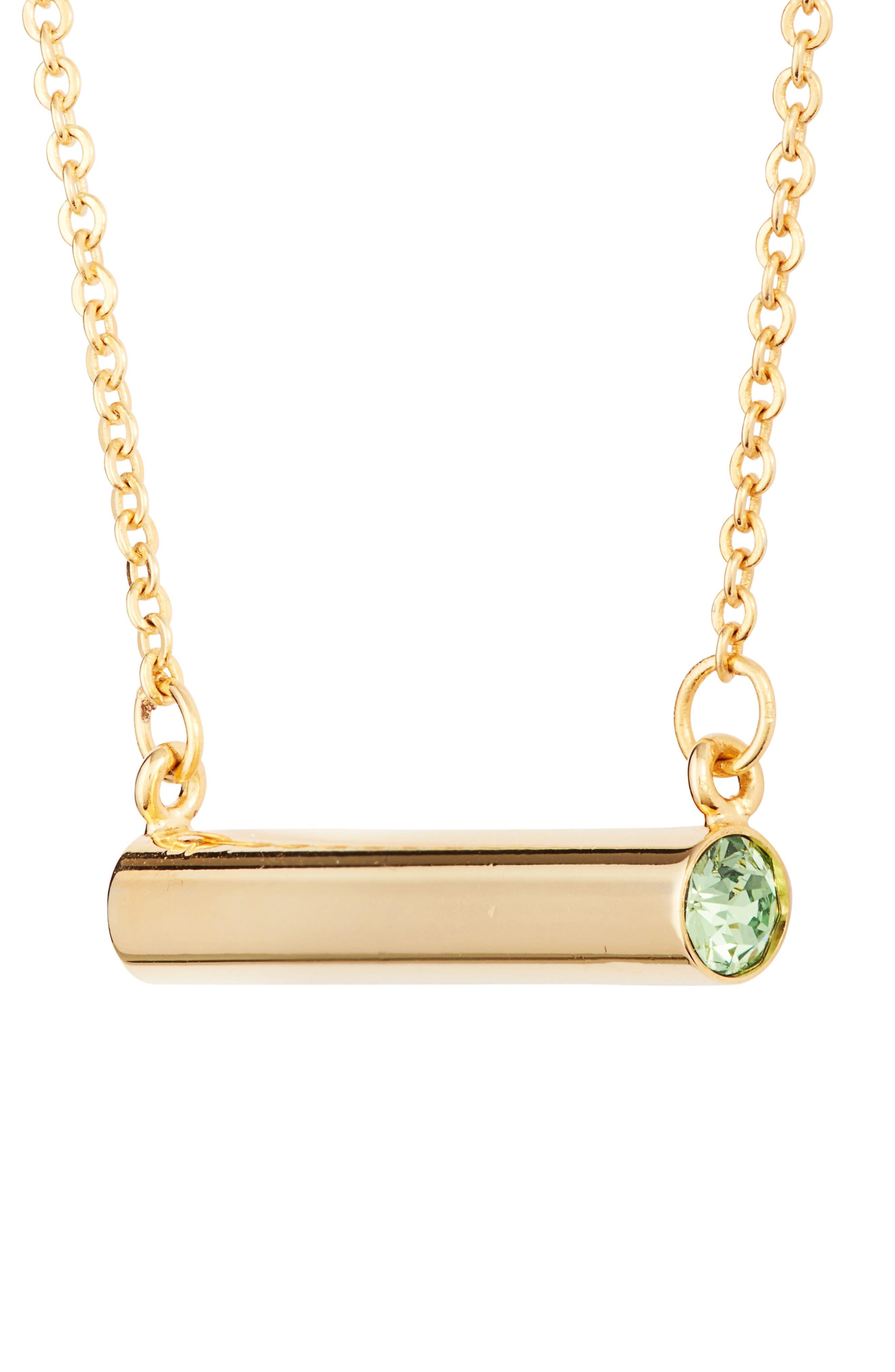 August Crystal Bar Pendant Necklace,                             Alternate thumbnail 6, color,