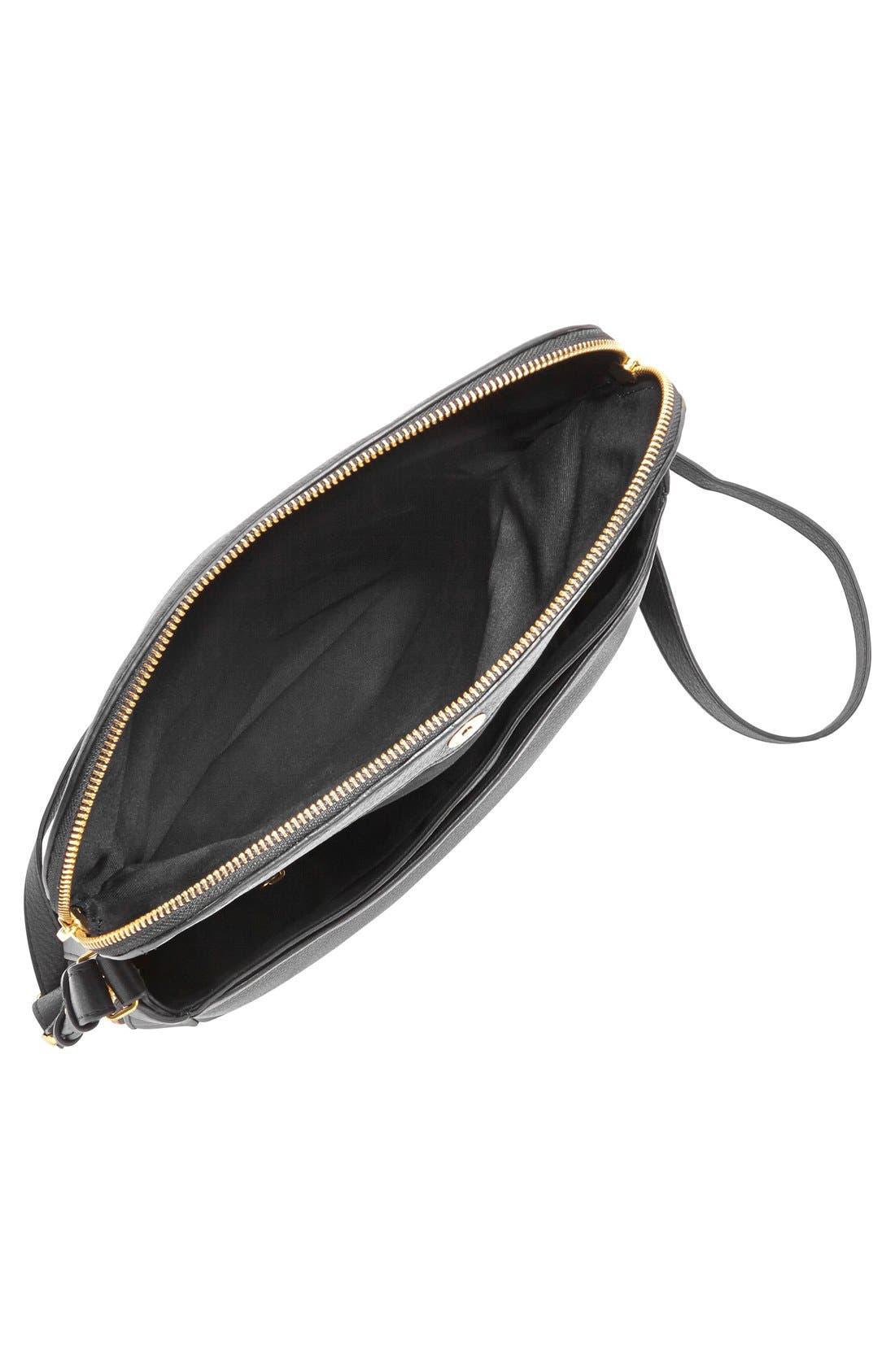FOSSIL,                             'Preston' Leather Shoulder Bag,                             Alternate thumbnail 4, color,                             001