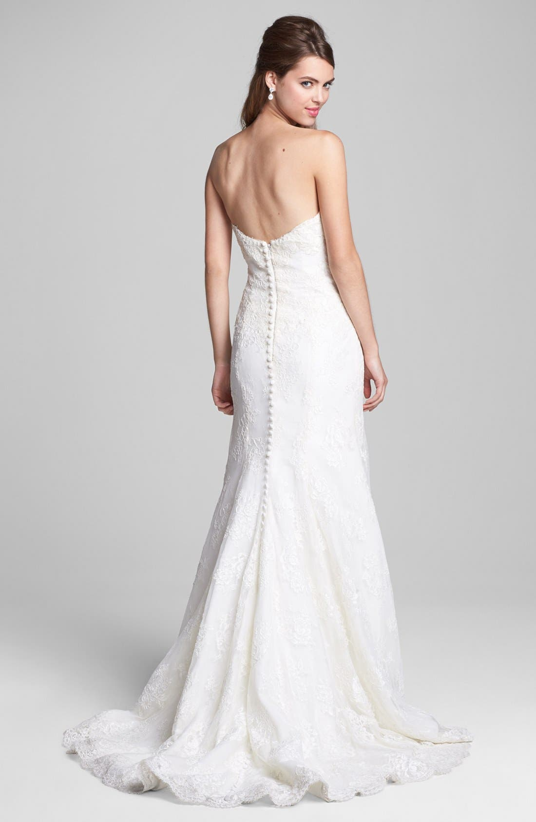Embroidered Lace Trumpet Dress,                             Alternate thumbnail 3, color,                             900