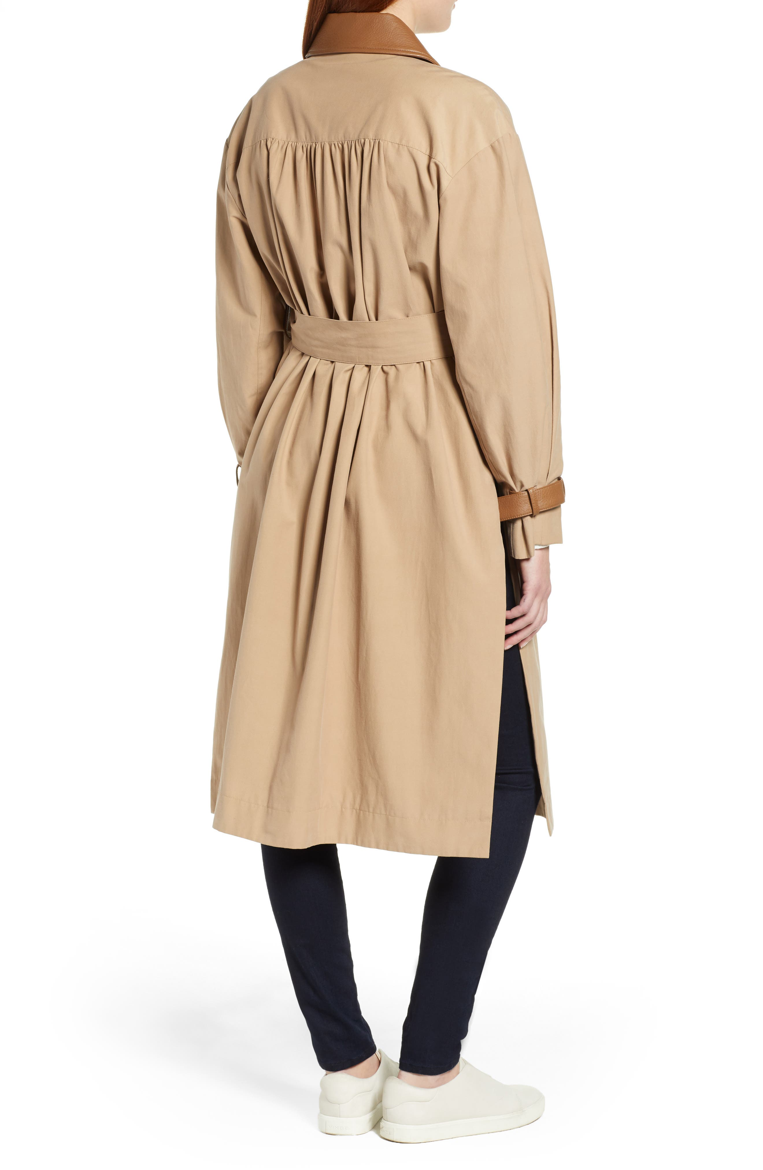Grace Oversize Twill Trench Coat,                             Alternate thumbnail 2, color,                             SAND