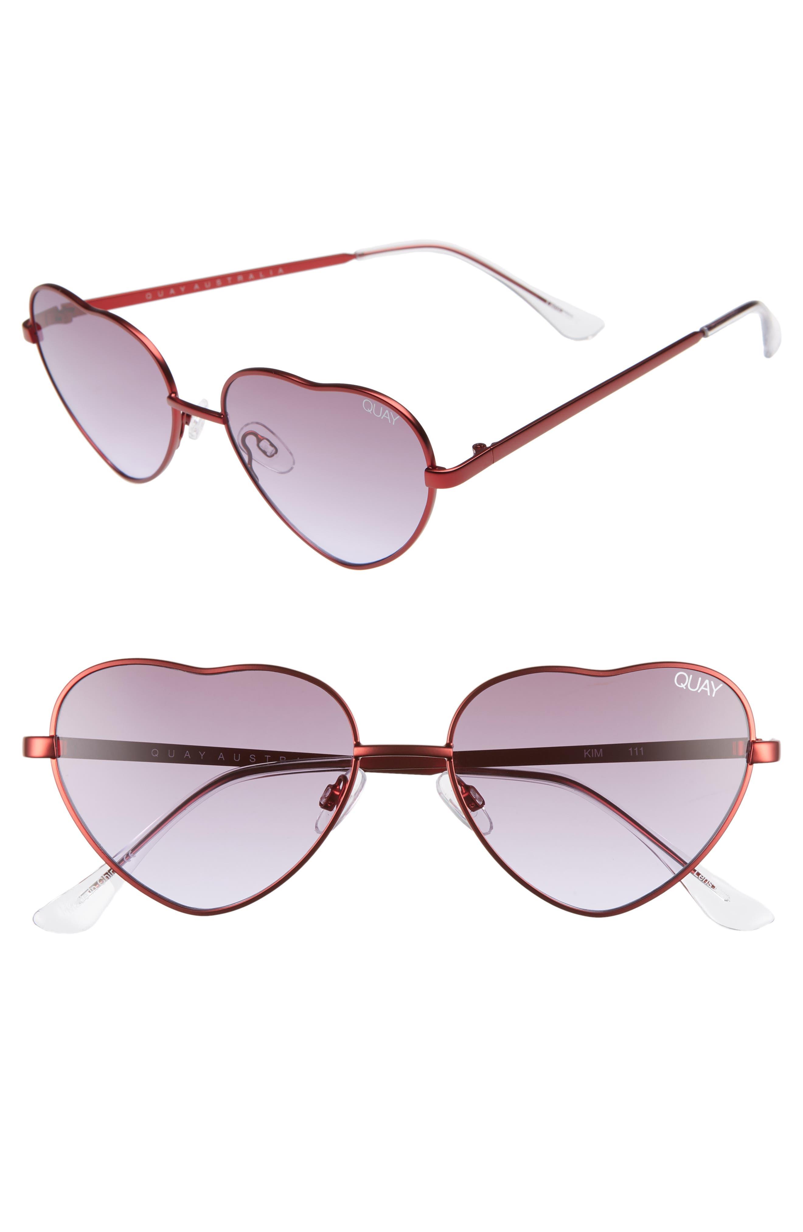 x Elle Ferguson Kim 55mm Heart Sunglasses,                             Main thumbnail 1, color,                             RED/ PURPLE FADE