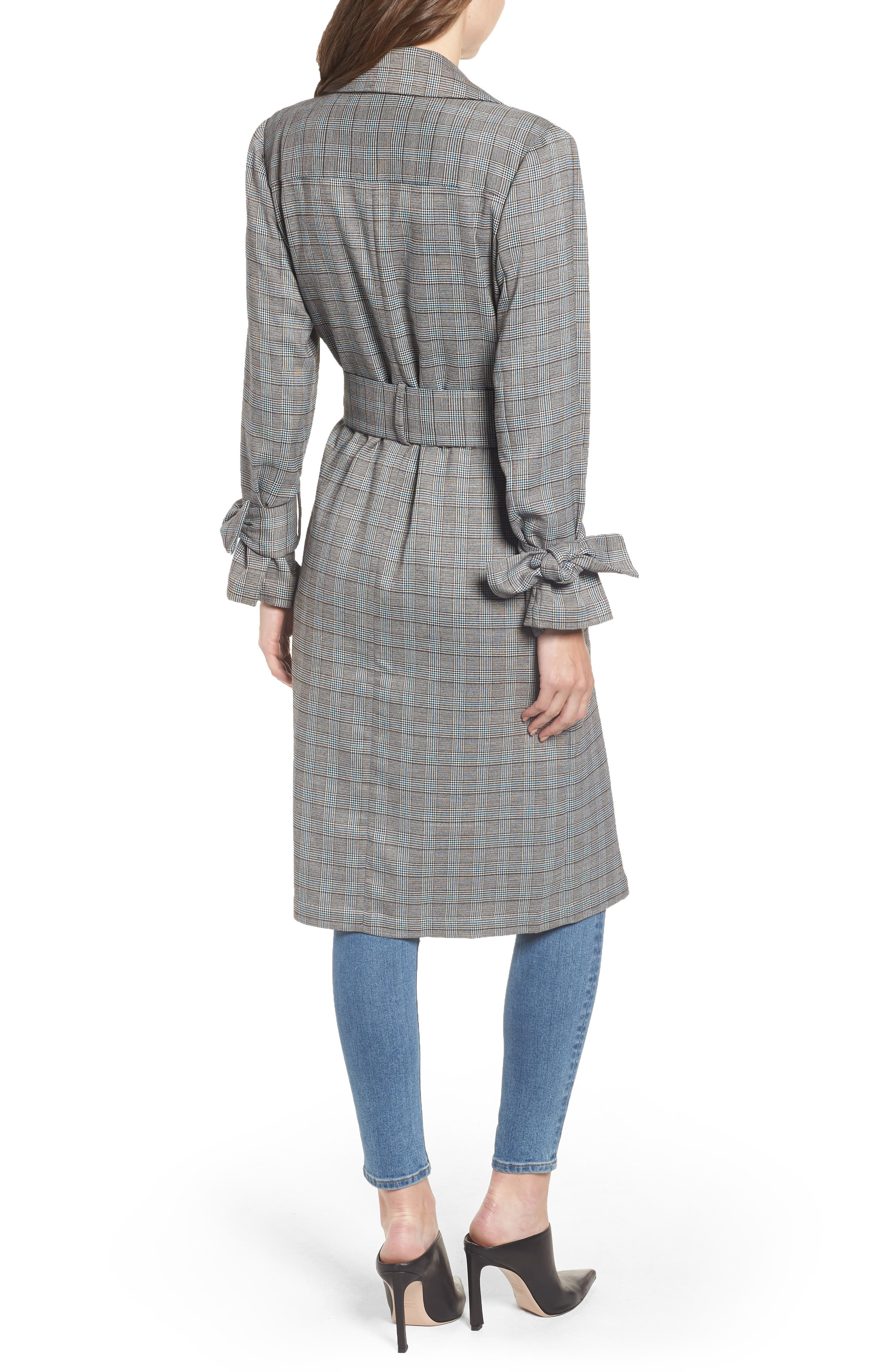Belted Trench Coat,                             Alternate thumbnail 2, color,                             TEAL CASEY PLAID