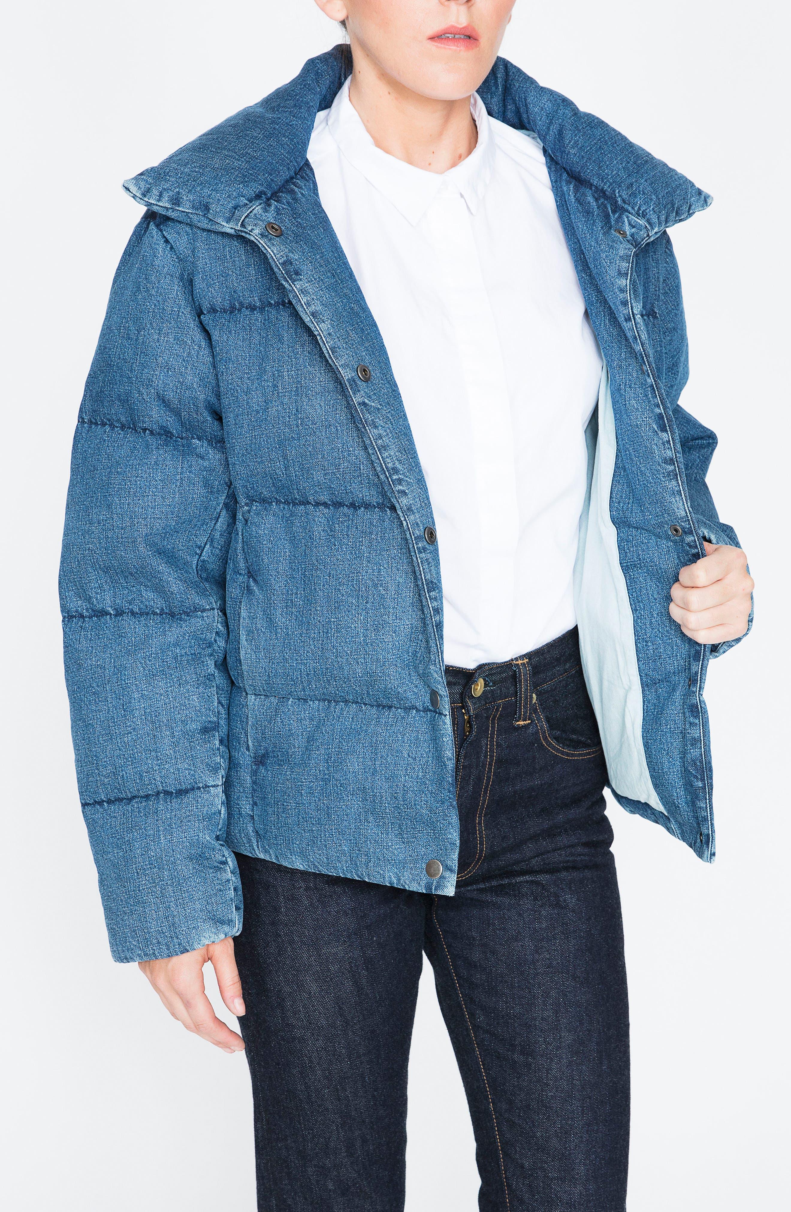Denim Down Puffer Jacket,                             Alternate thumbnail 5, color,                             BLUE