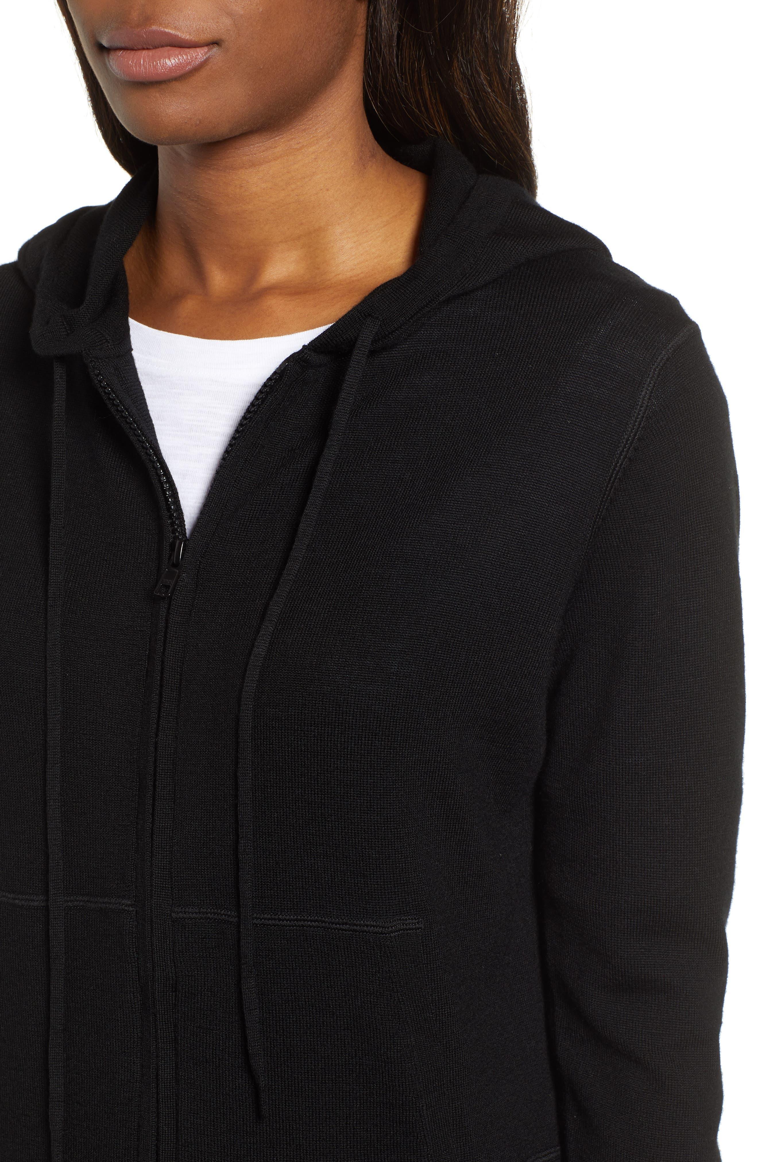 Full Zip Hoodie Wool Sweater,                             Alternate thumbnail 4, color,                             JET BLACK
