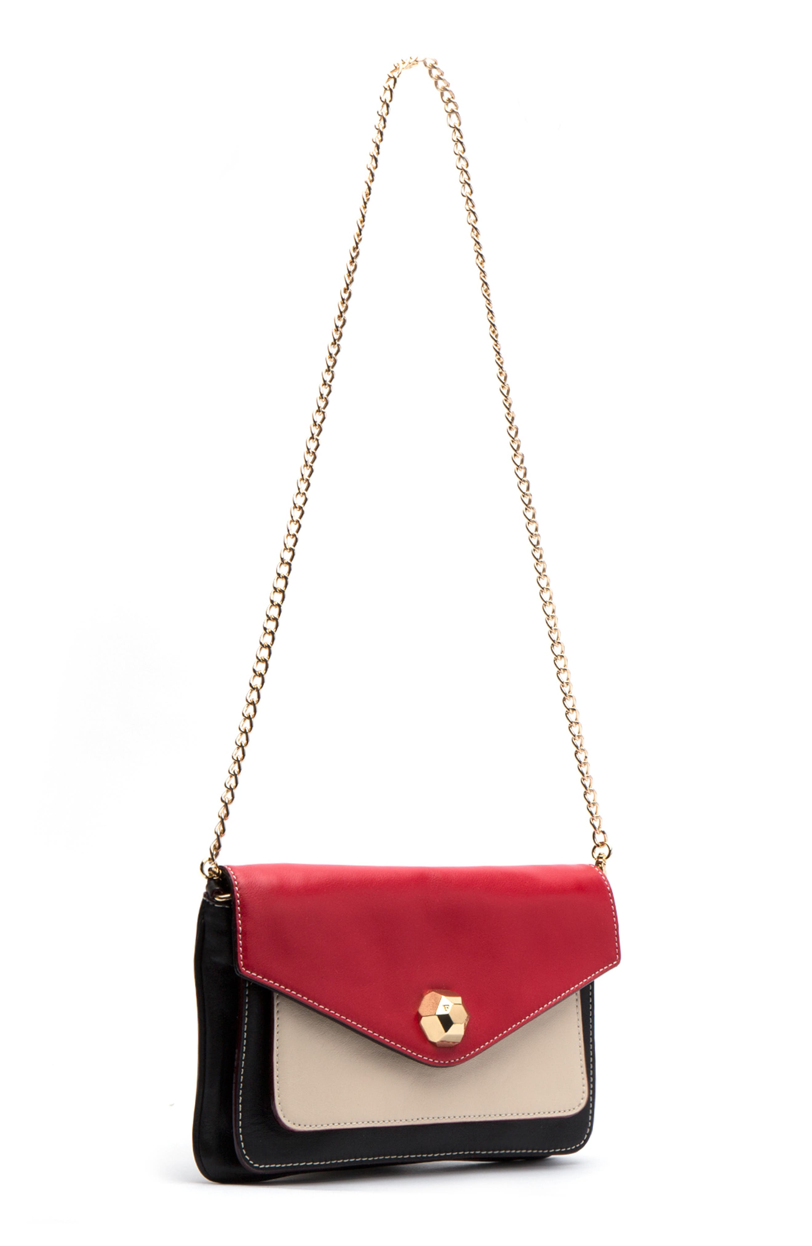 Tess Colorblock Leather Clutch,                             Alternate thumbnail 3, color,                             BLACK/ OYSTER/ RED