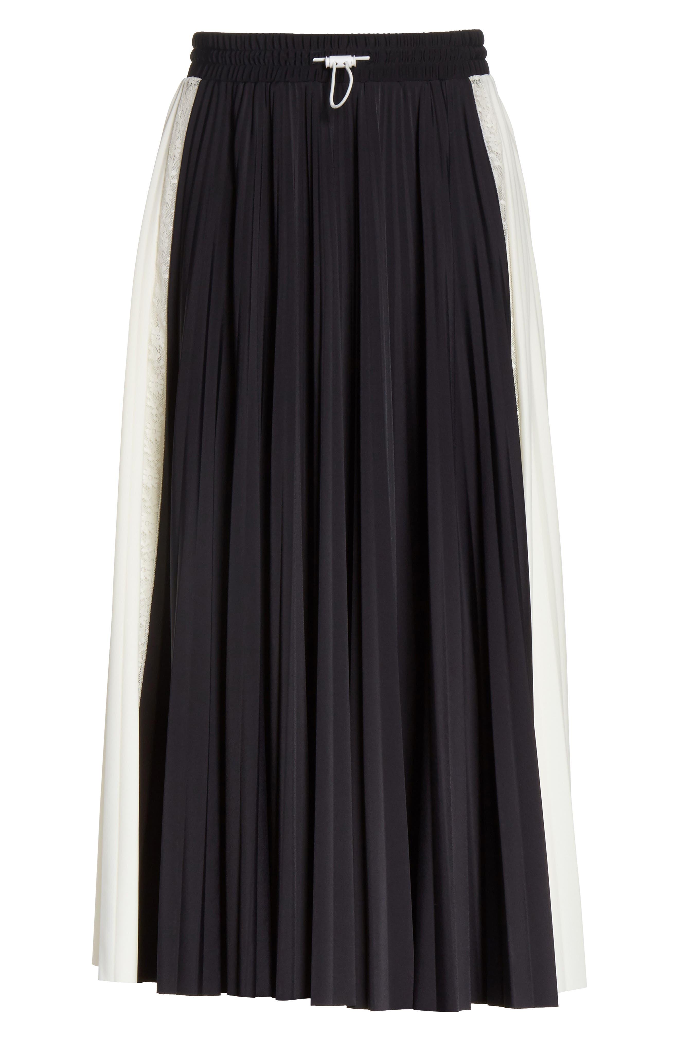 Bicolor Jersey & Lace Plissé Skirt,                             Alternate thumbnail 6, color,                             001