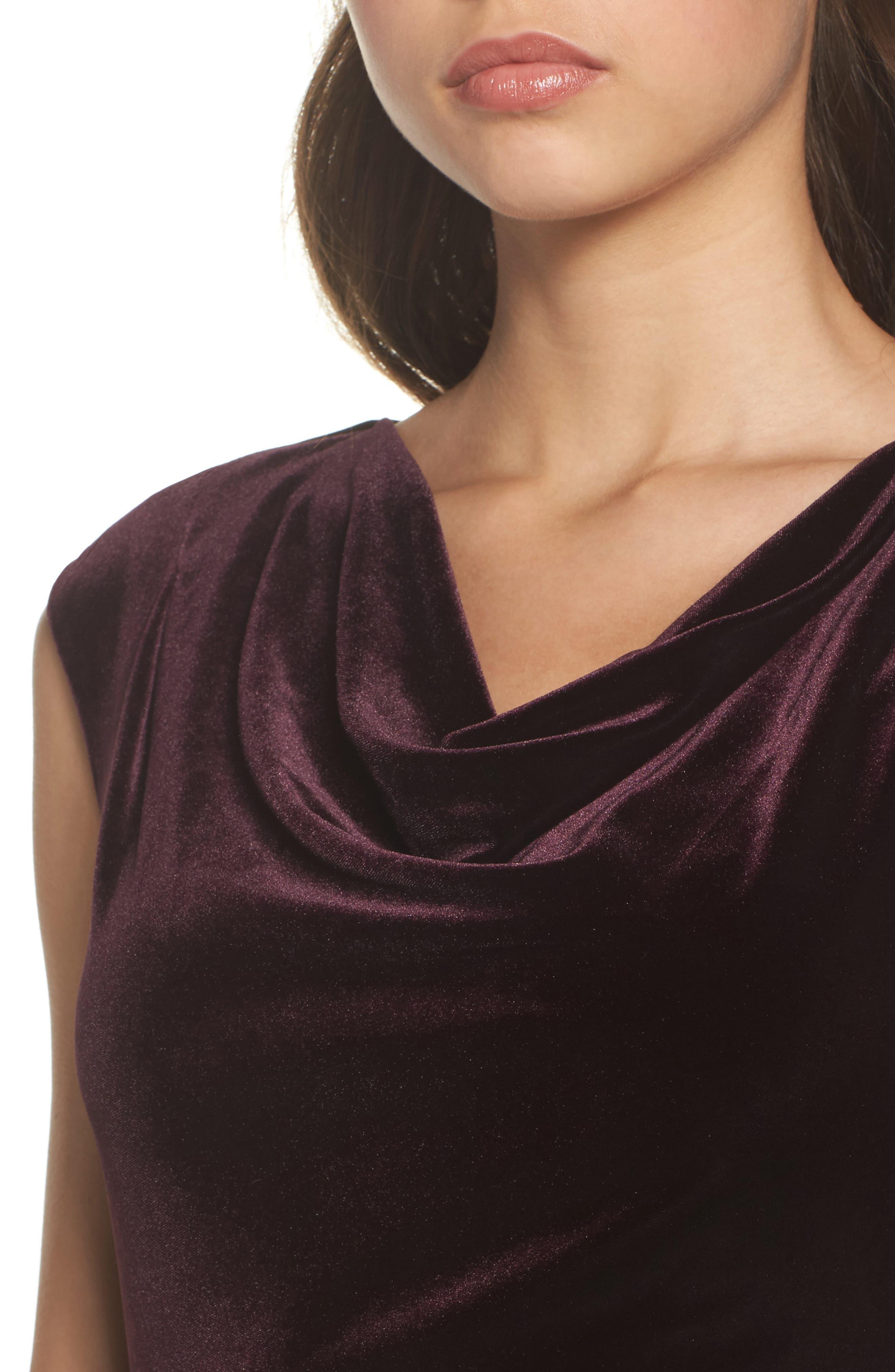 Cap Sleeve Draped Velvet Gown,                             Alternate thumbnail 4, color,                             507