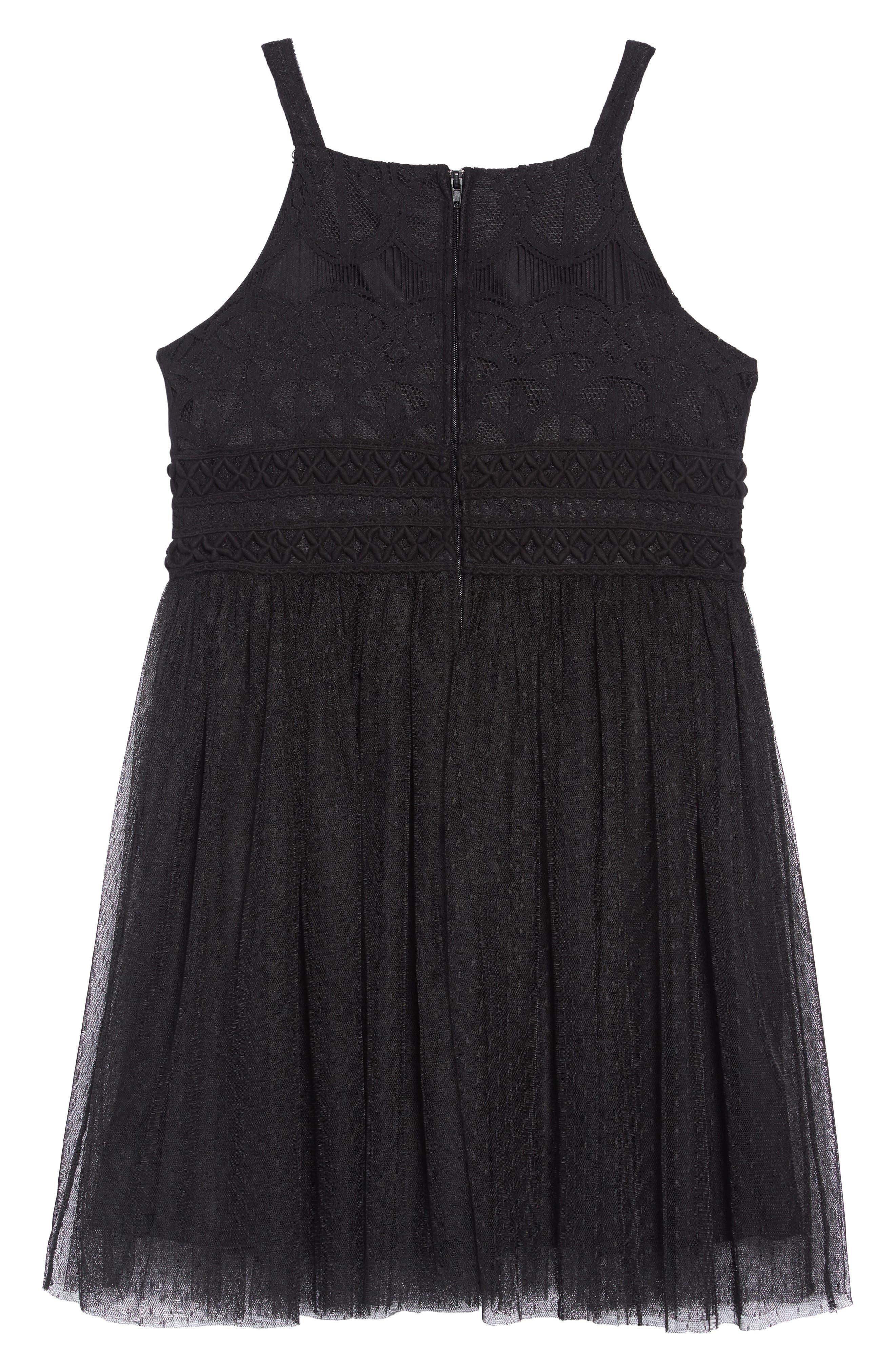 Sleeveless Tulle Dress,                             Alternate thumbnail 2, color,                             BLACK