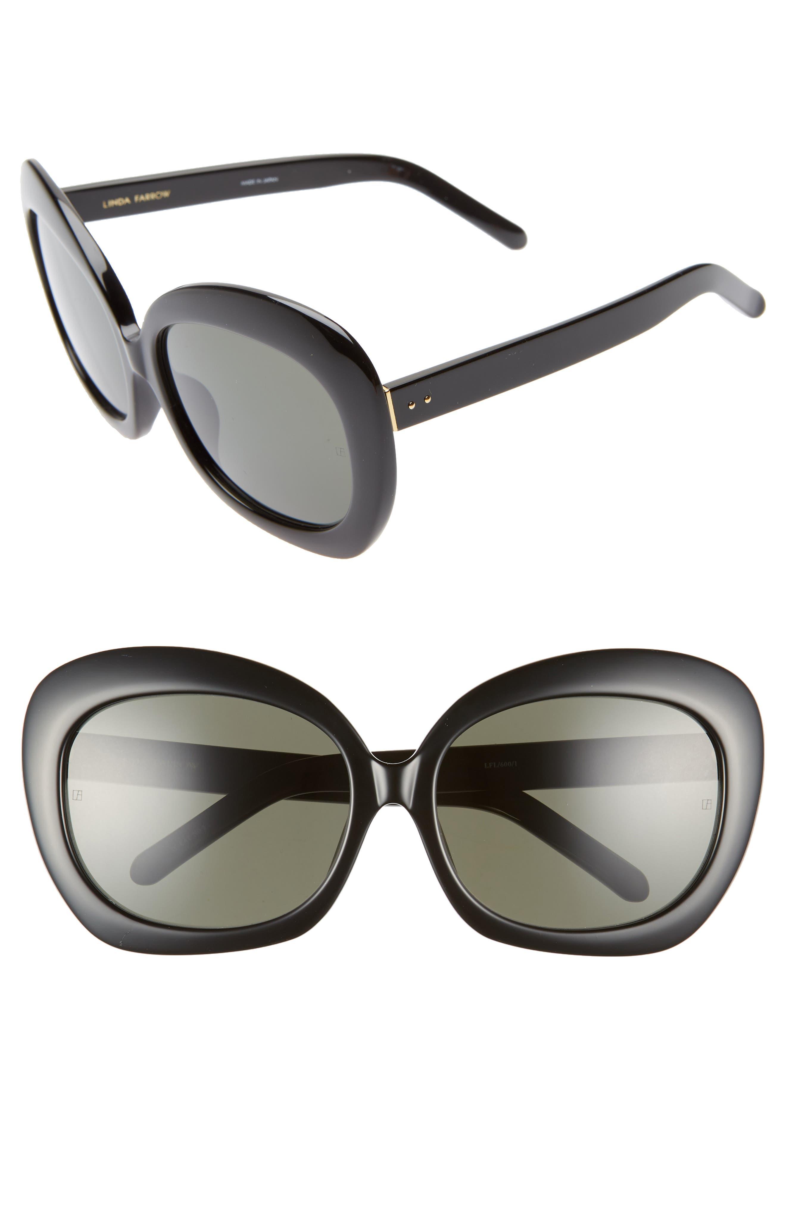 LINDA FARROW 62mm Oversize Round Sunglasses, Main, color, BLACK