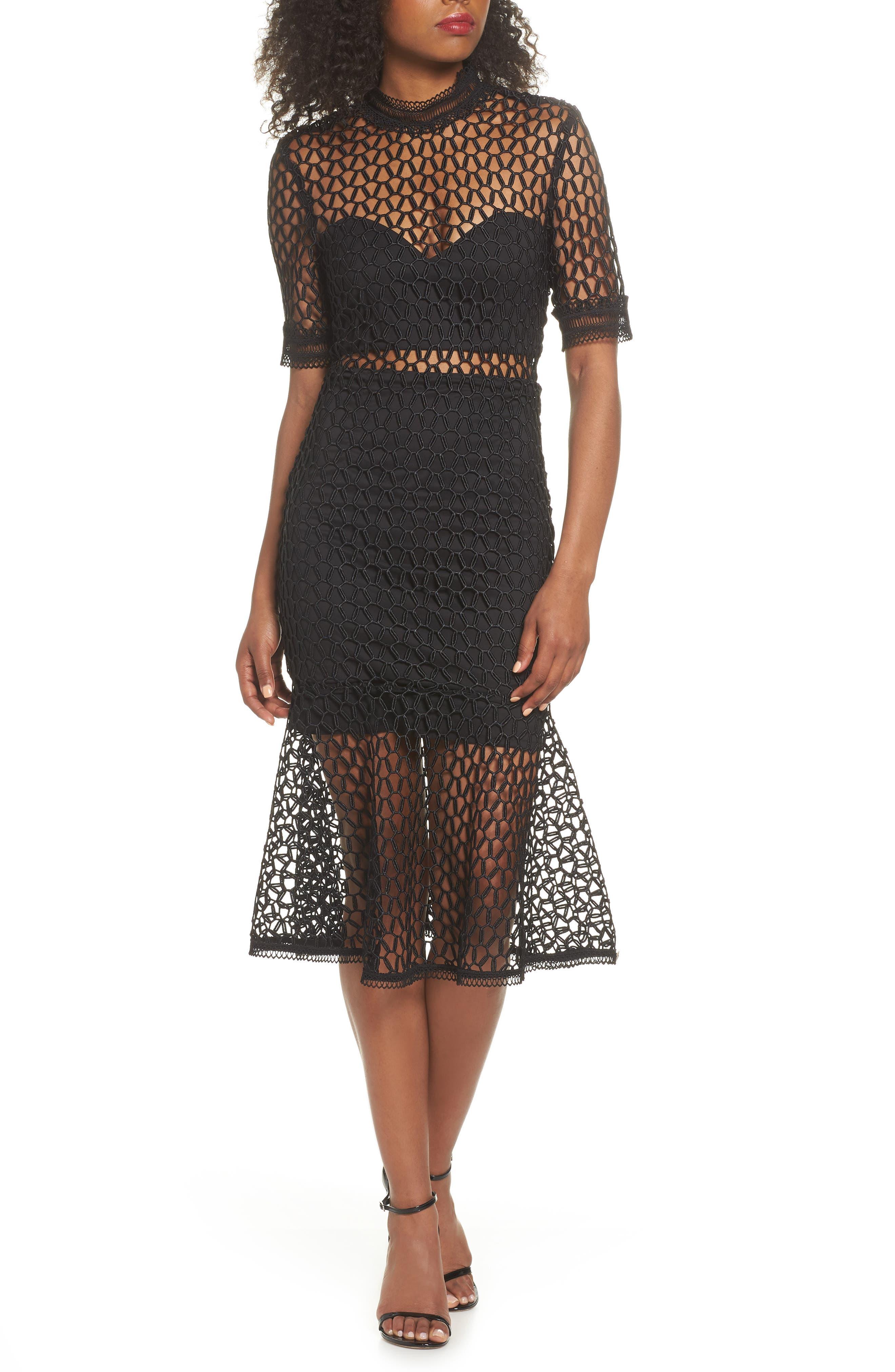 Fiona Mesh Lace Trumpet Dress,                             Main thumbnail 1, color,                             BLACK