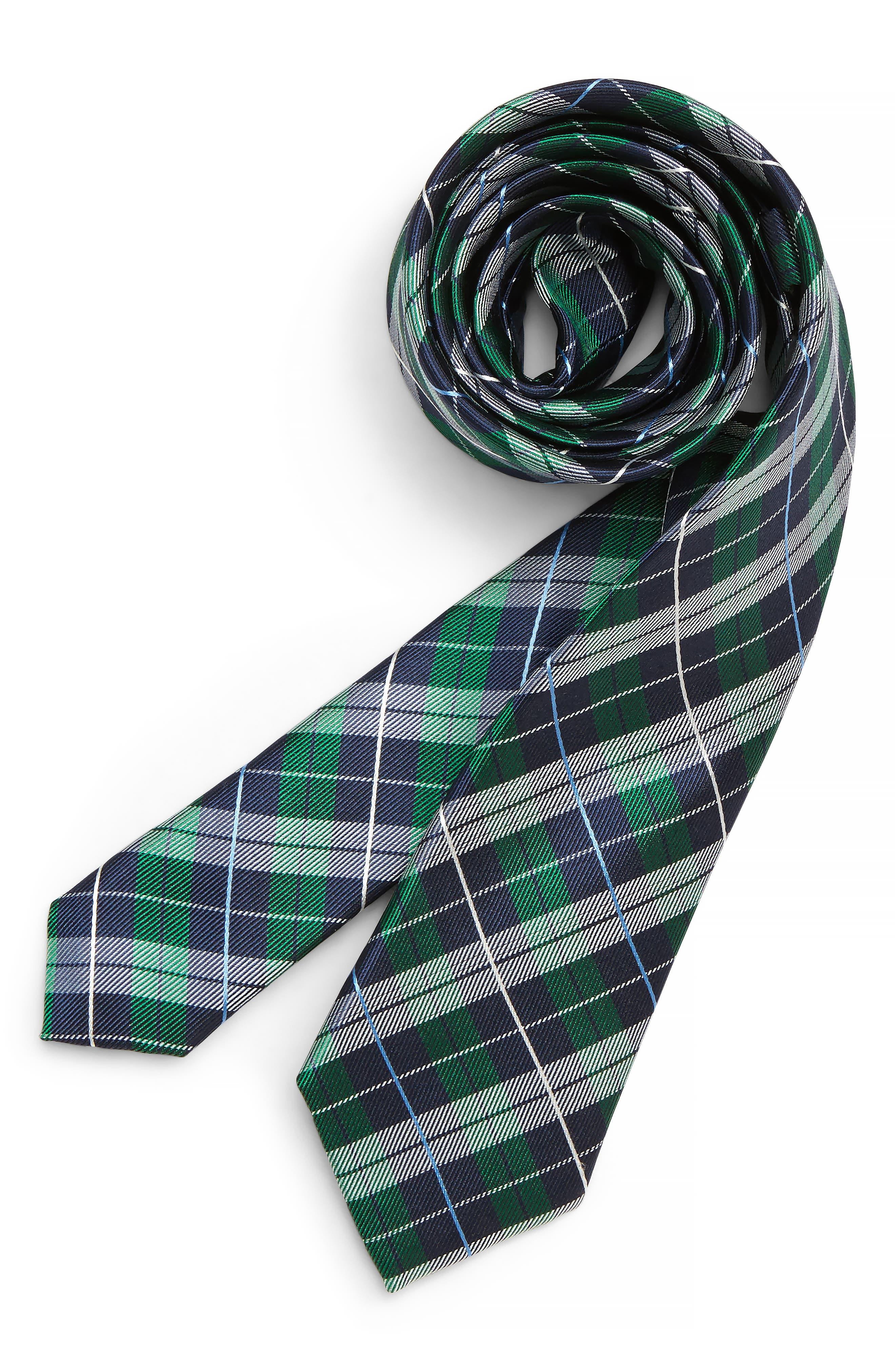Plaid Silk Tie,                         Main,                         color, GREEN