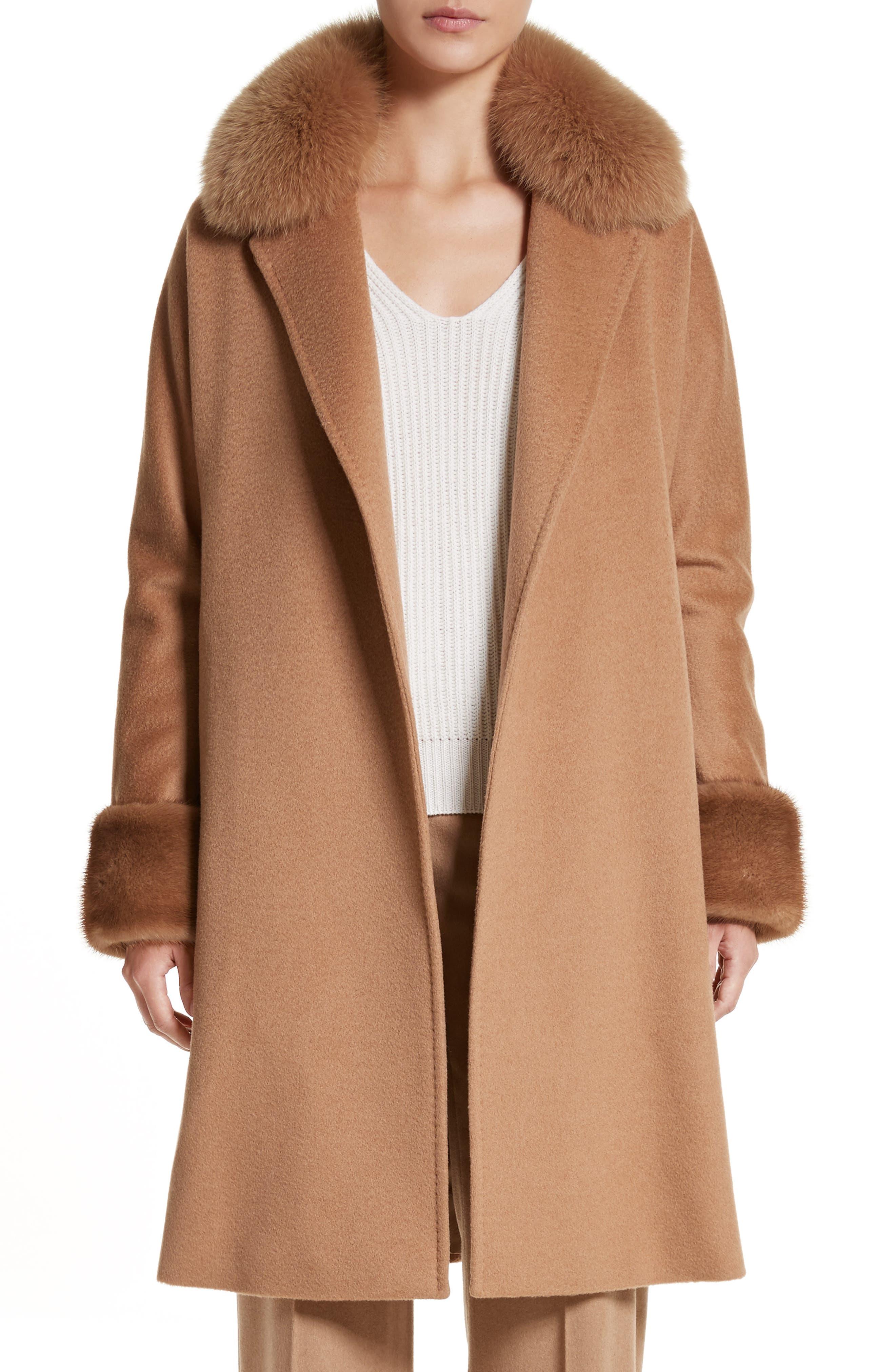 Camel Hair Coat with Genuine Fox Fur & Genuine Mink Fur Trim,                             Main thumbnail 1, color,                             232
