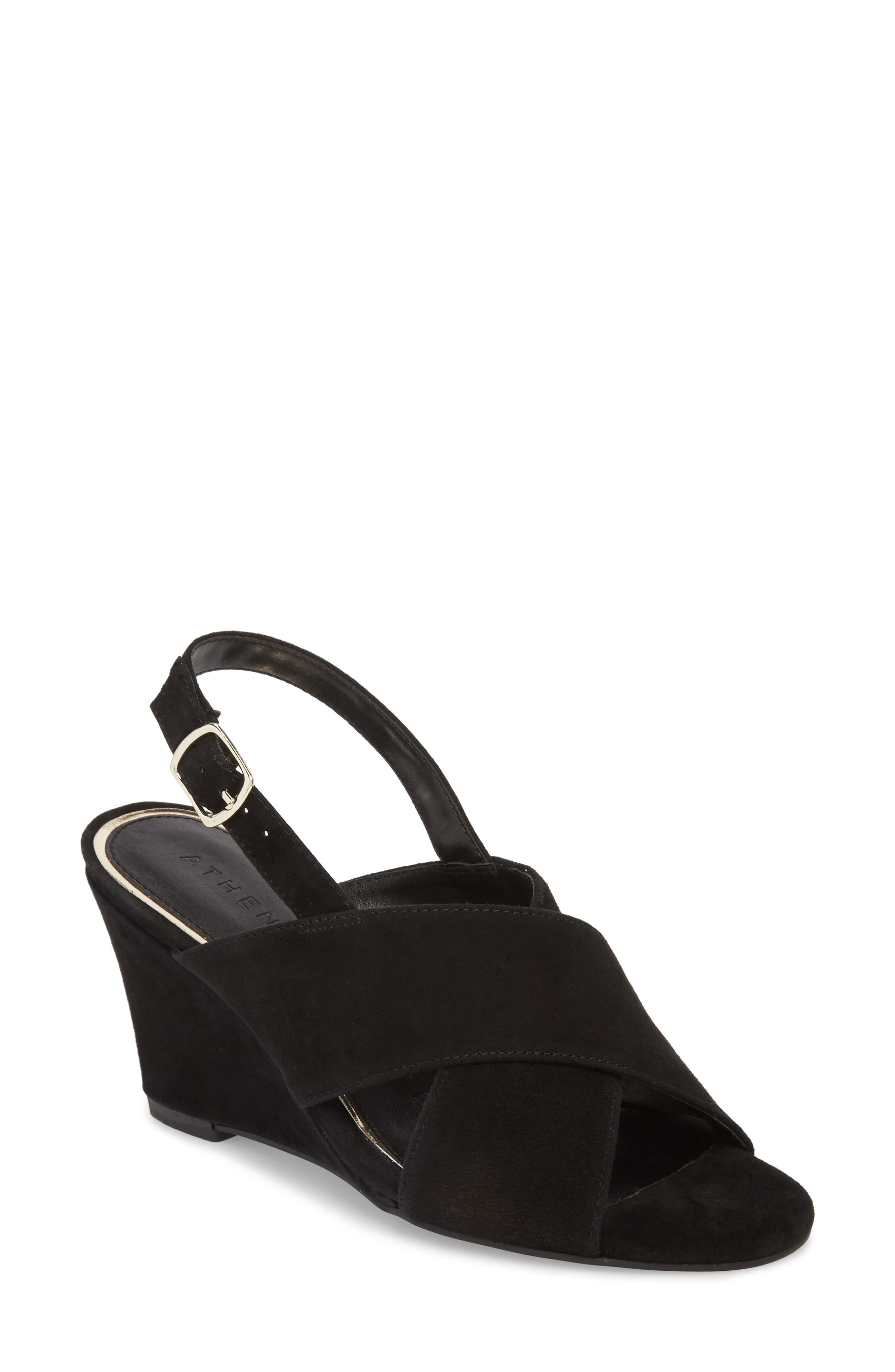 Eastford Wedge Sandal,                         Main,                         color, BLACK SUEDE