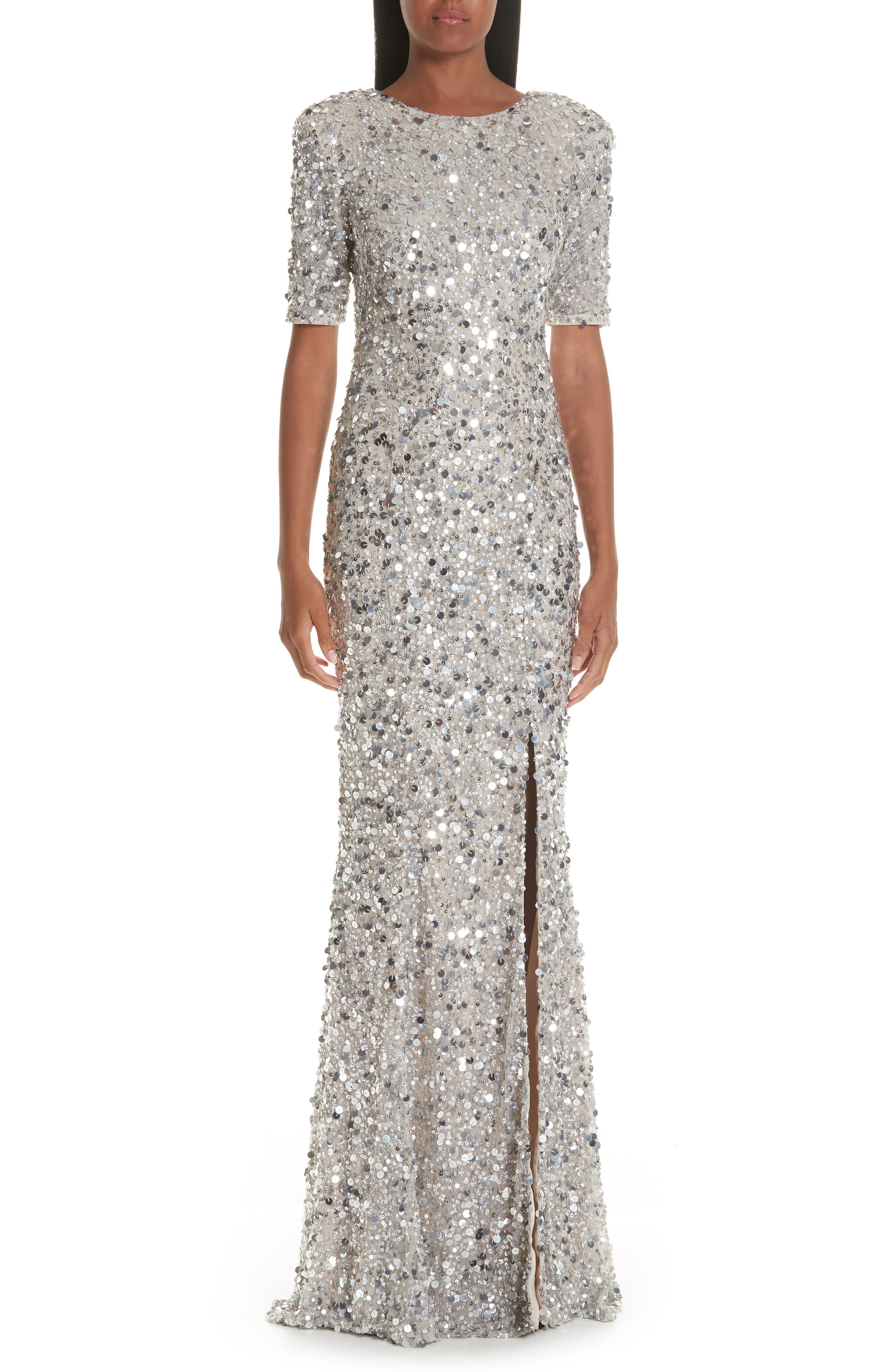 Zowie Sequin Gown,                         Main,                         color, SILVER