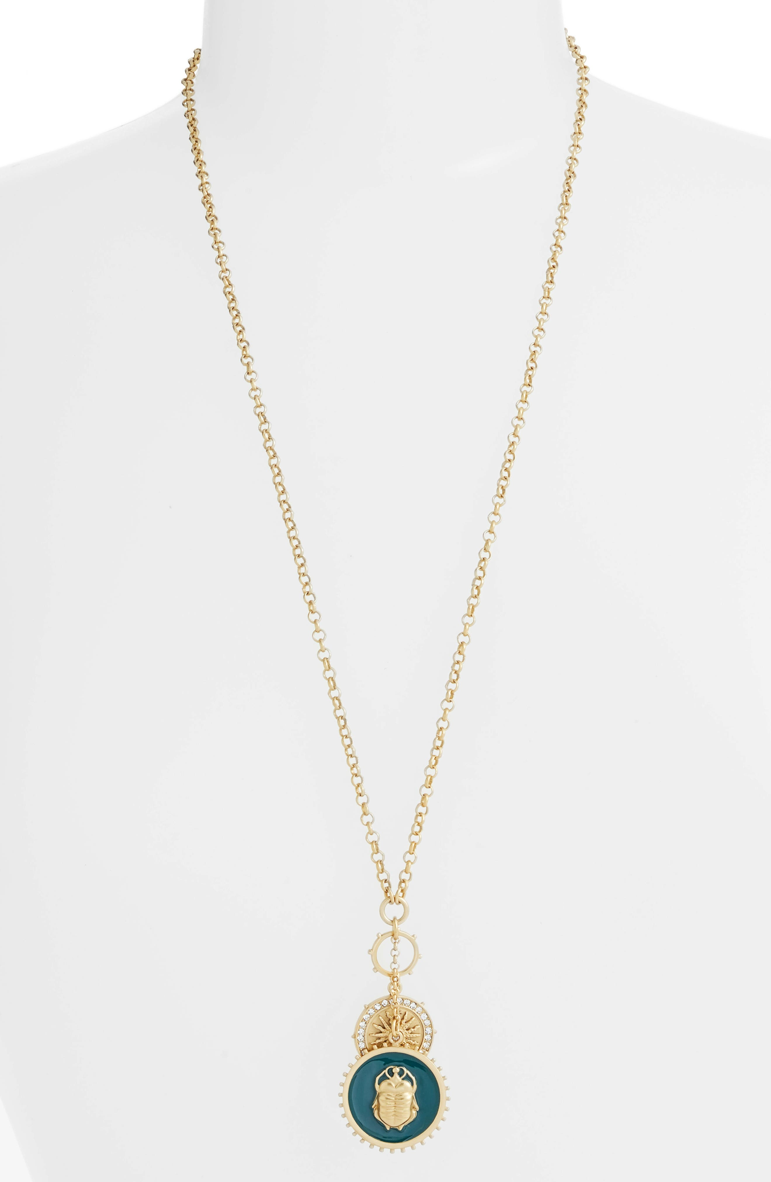Enamel Scarab Pendant Necklace,                             Main thumbnail 1, color,                             710