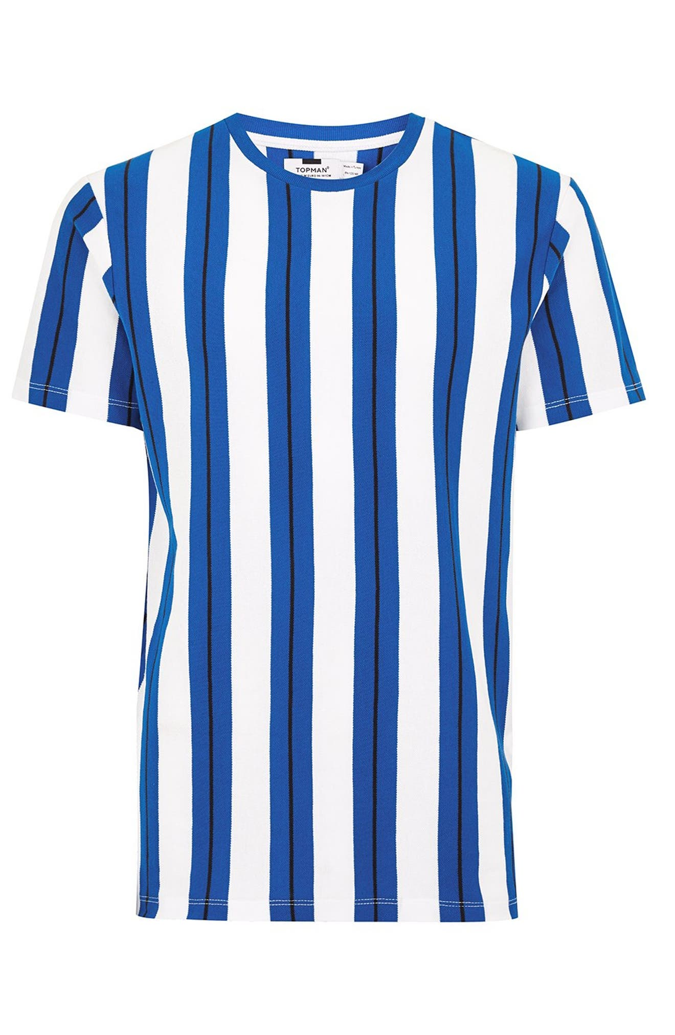 Stripe Piqué T-Shirt,                             Alternate thumbnail 5, color,                             BLUE
