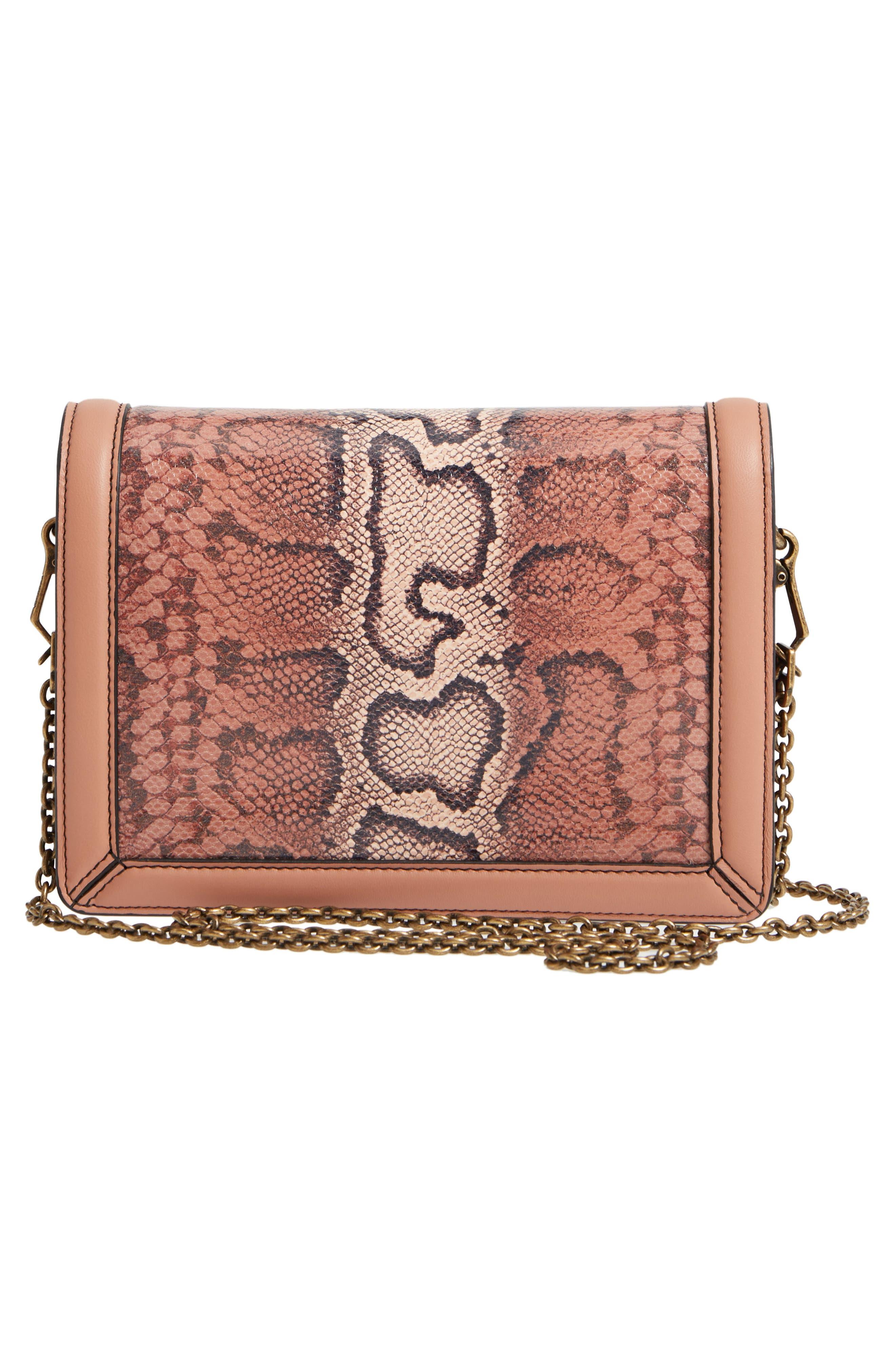 Mini Motobello Genuine Snakeskin & Leather Wallet on a Chain,                             Alternate thumbnail 3, color,                             566