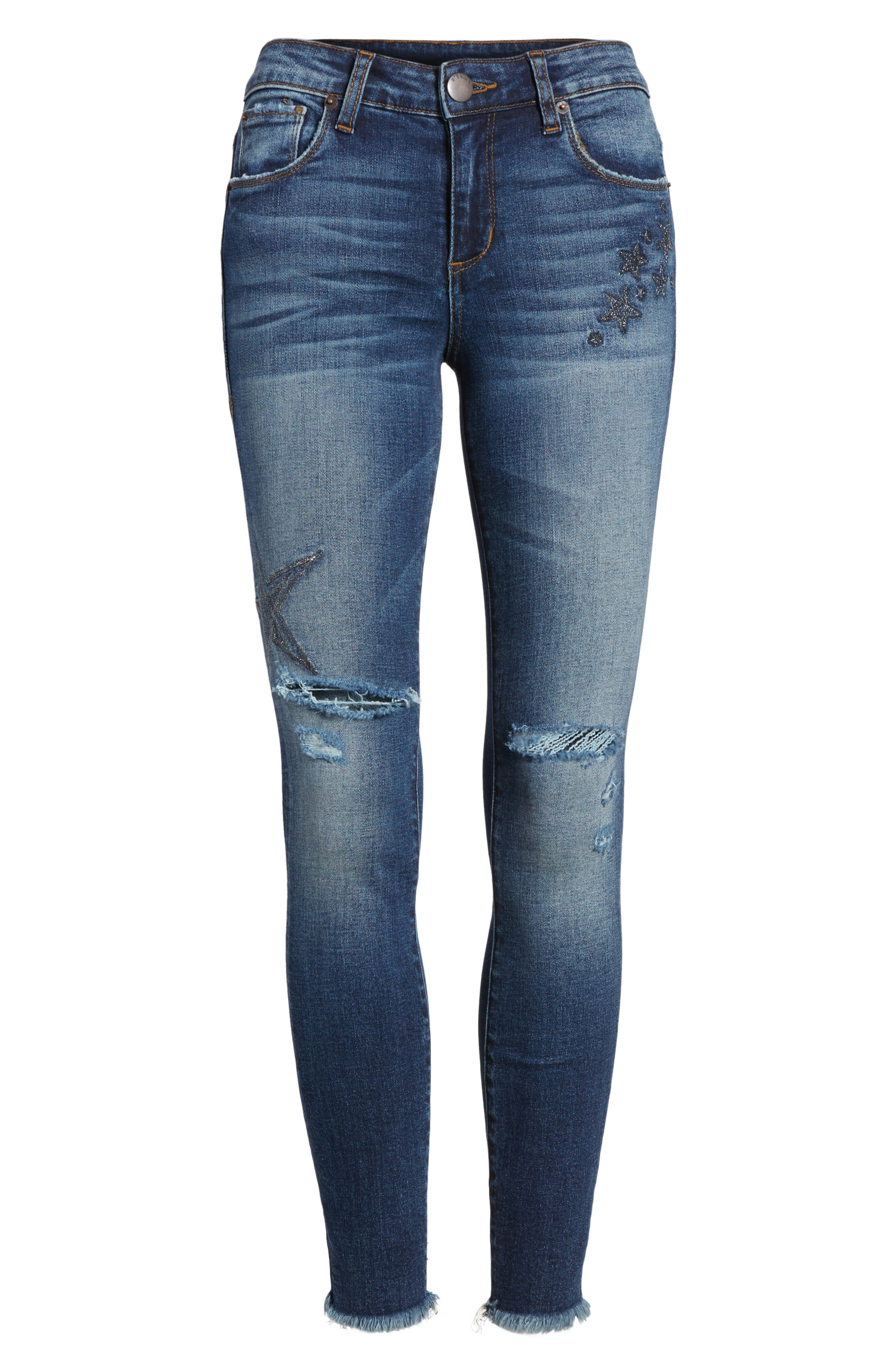 Star Embroiderd Skinny Ankle Jeans,                             Alternate thumbnail 6, color,                             400