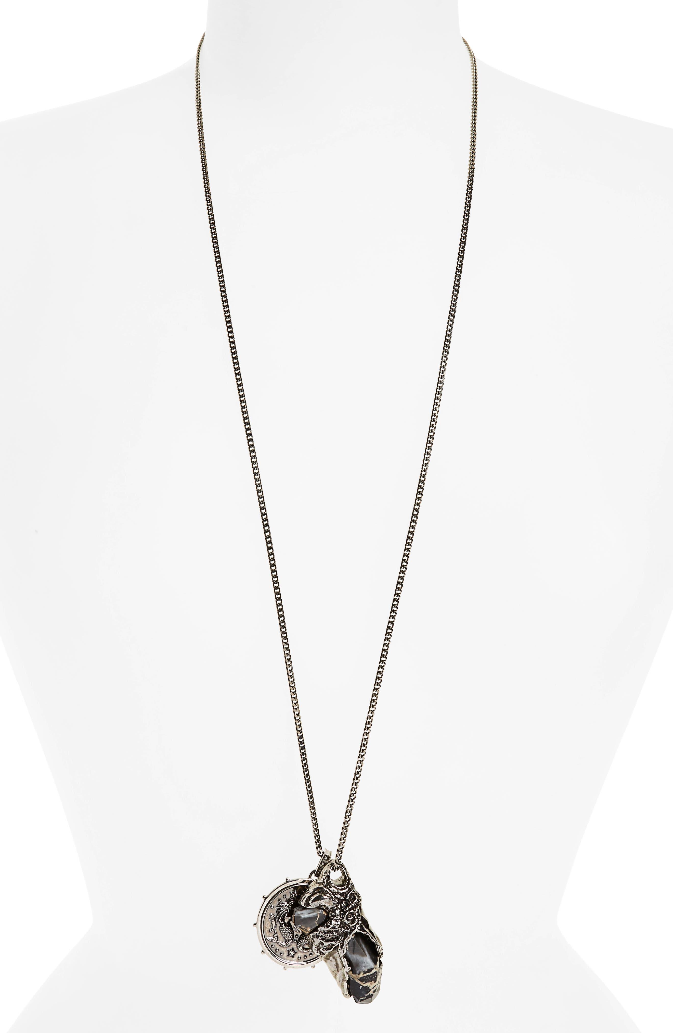 Medallion Pendant Necklace,                         Main,                         color, ANTIQUE SILVER/ BLACK PORTORO