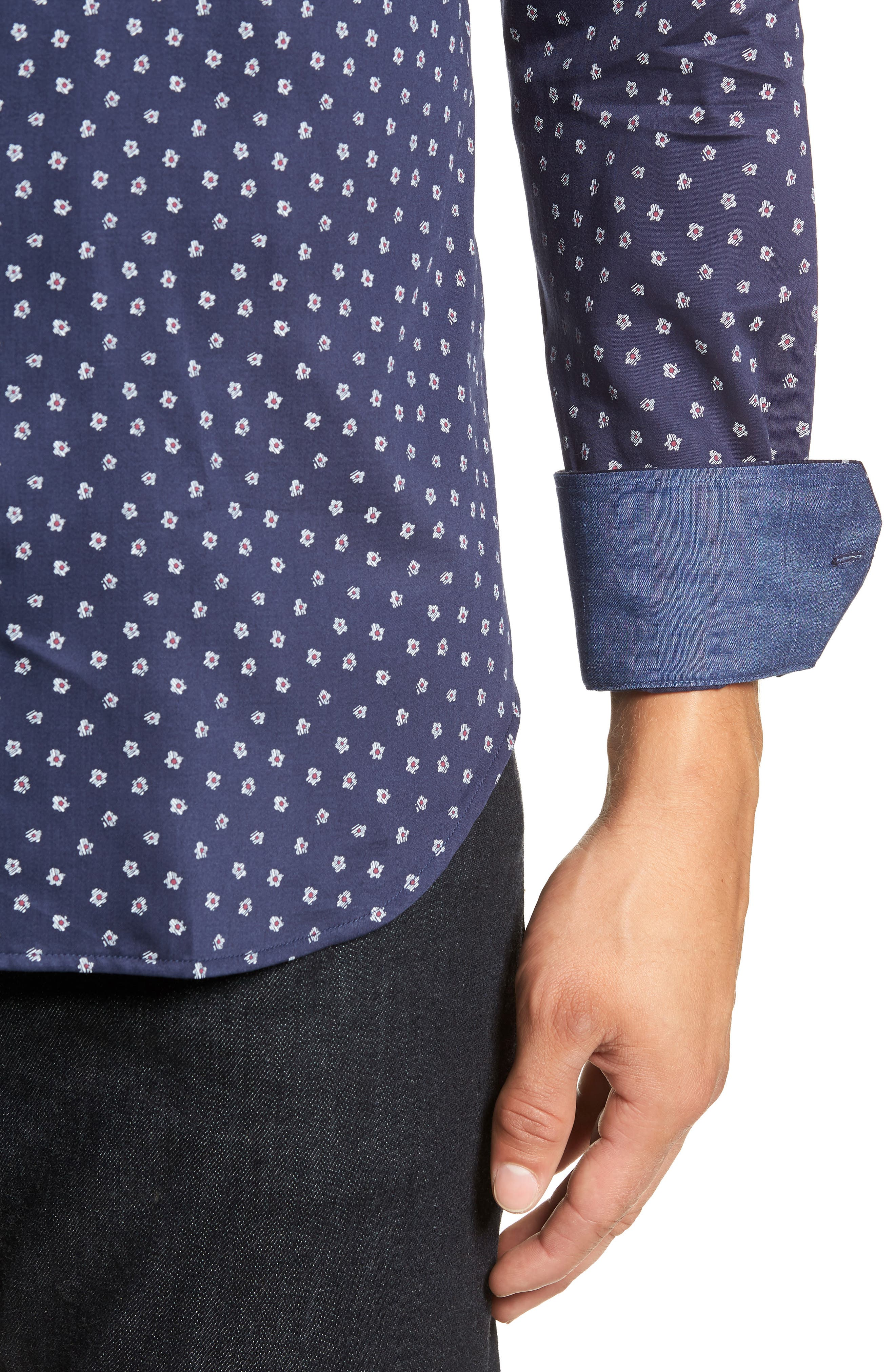 Shaped Fit Flower Print Sport Shirt,                             Alternate thumbnail 2, color,                             MIDNIGHT