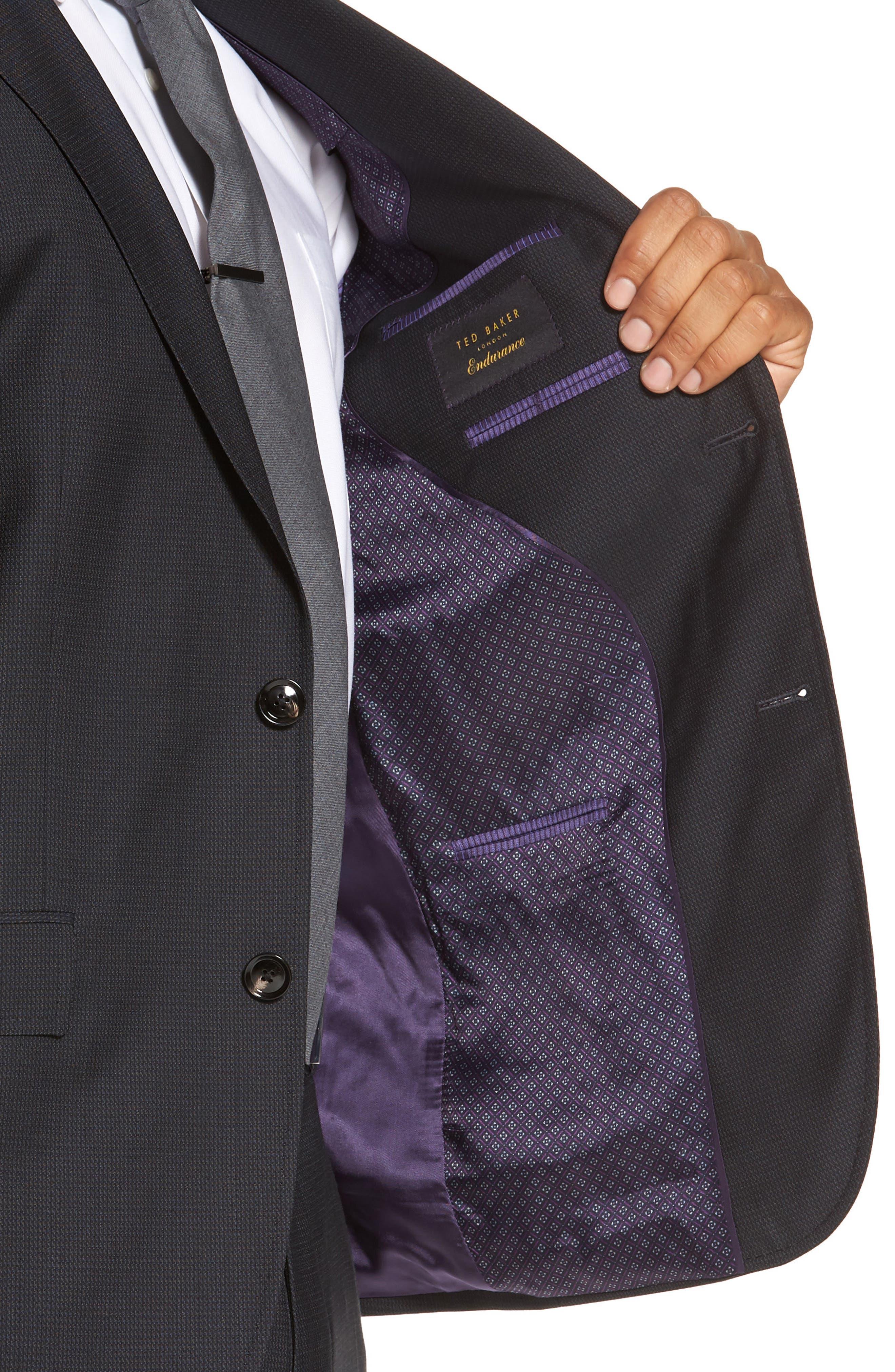 Roger Trim Fit Solid Wool Suit,                             Alternate thumbnail 4, color,                             001
