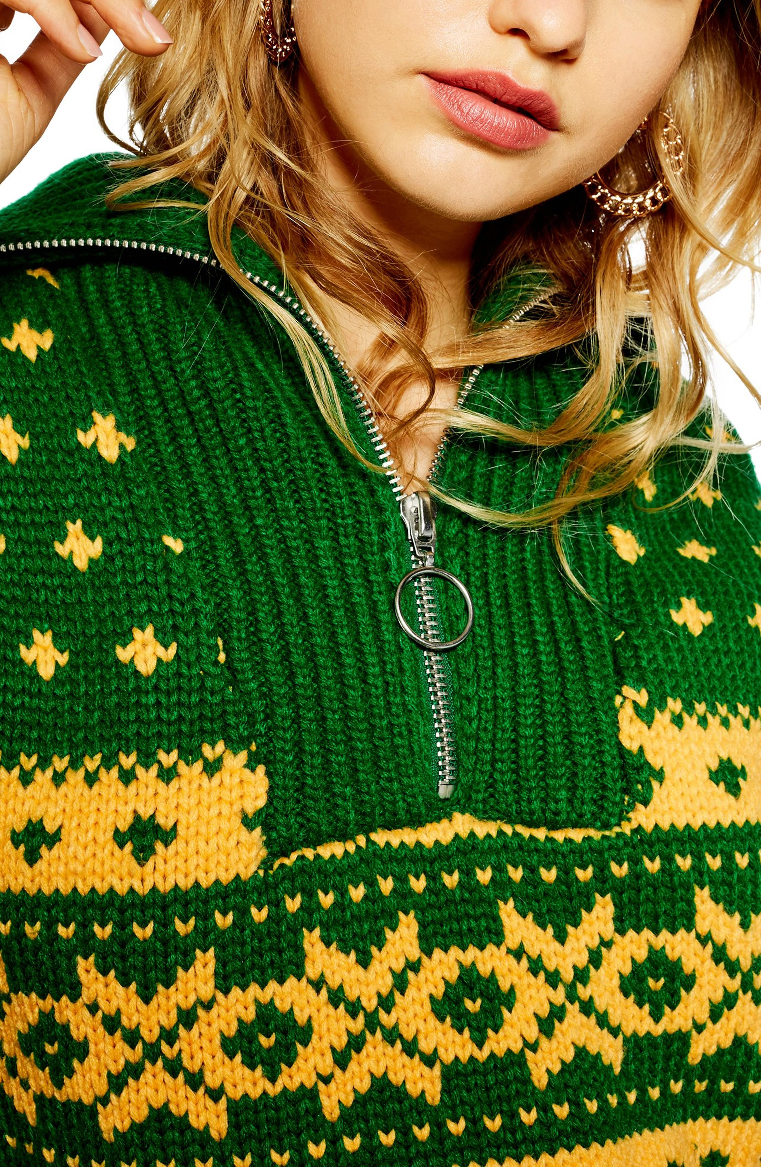 Fair Isle Zip Collar Sweater,                             Alternate thumbnail 3, color,                             GREEN MULTI