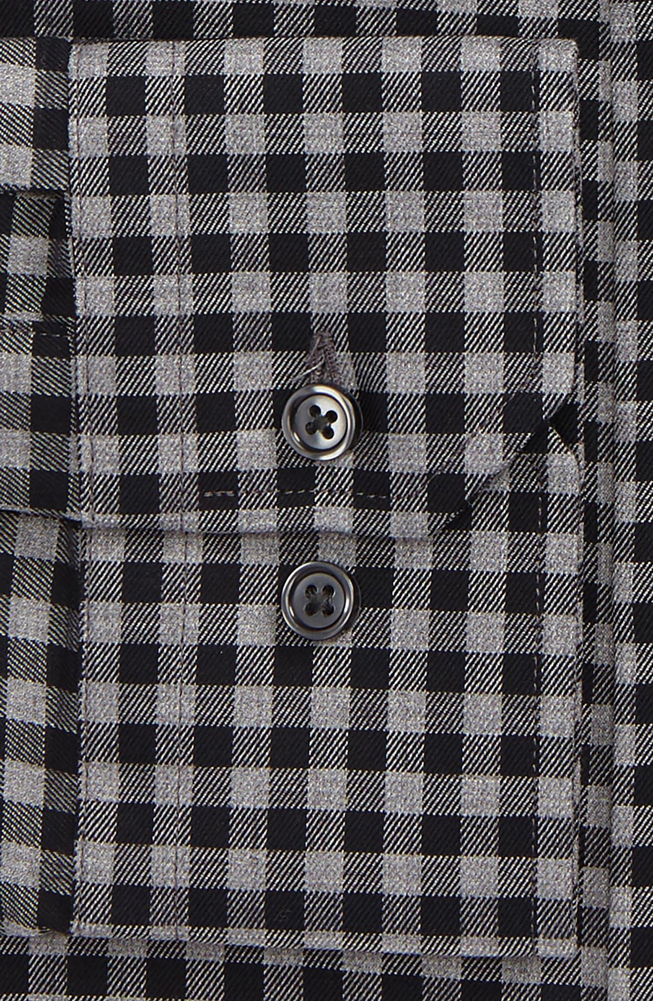 Trim Fit Check Dress Shirt,                             Alternate thumbnail 4, color,                             001