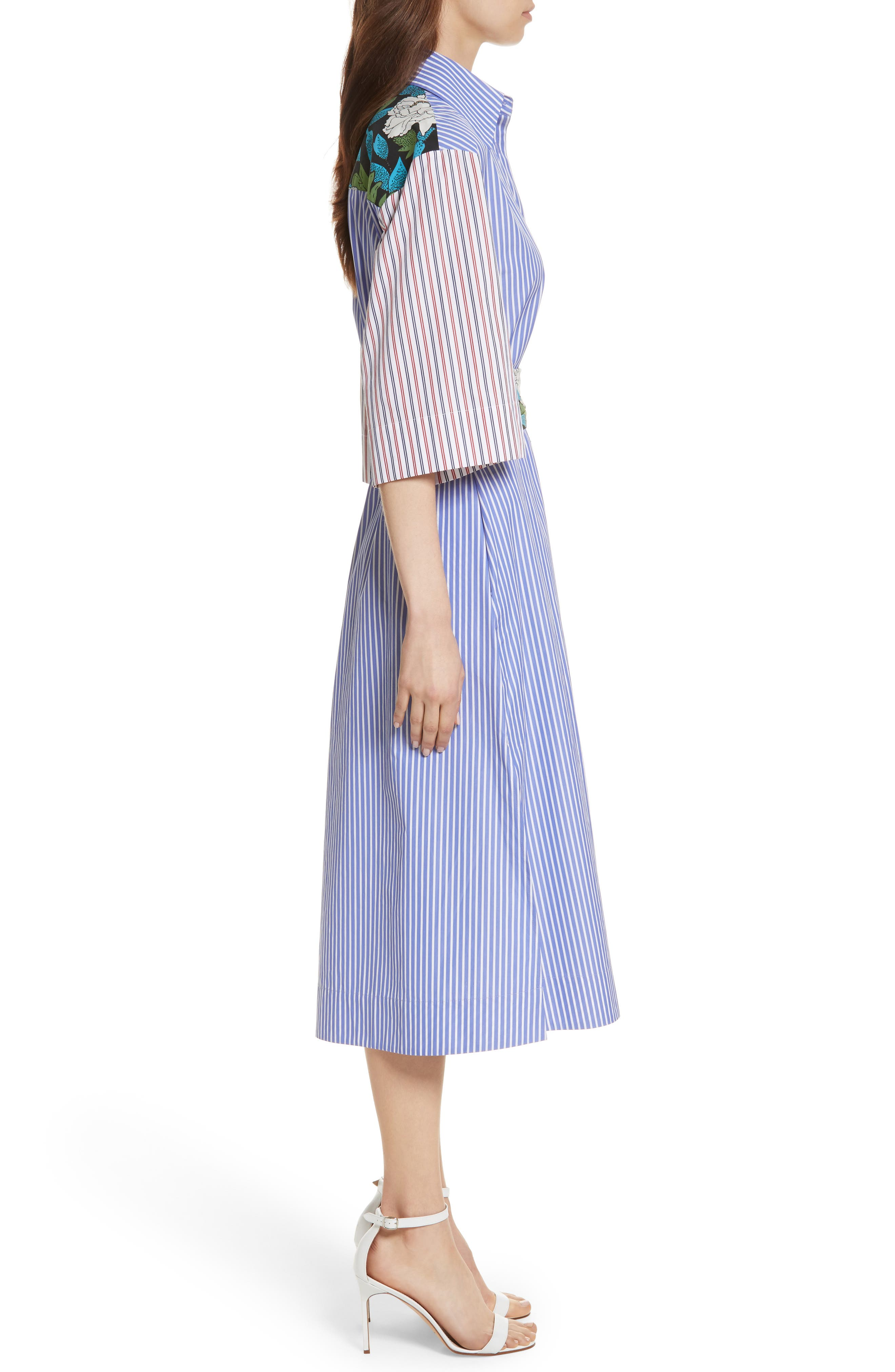 Diane von Furstenberg Mixed Print Cotton Shirtdress,                             Alternate thumbnail 3, color,