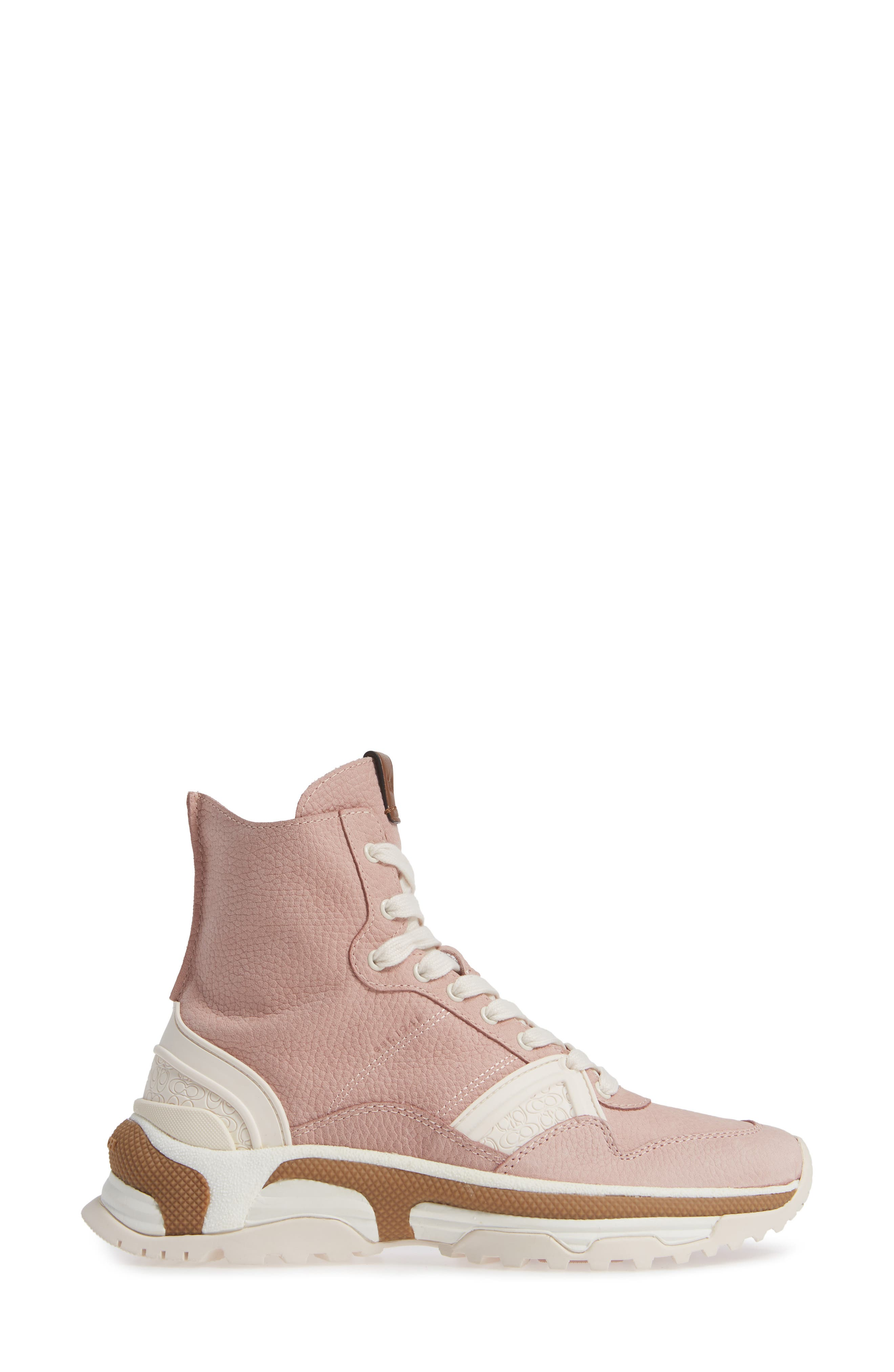 COACH,                             High Top Sneaker,                             Alternate thumbnail 3, color,                             BLUSH PINK NUBUCK LEATHER