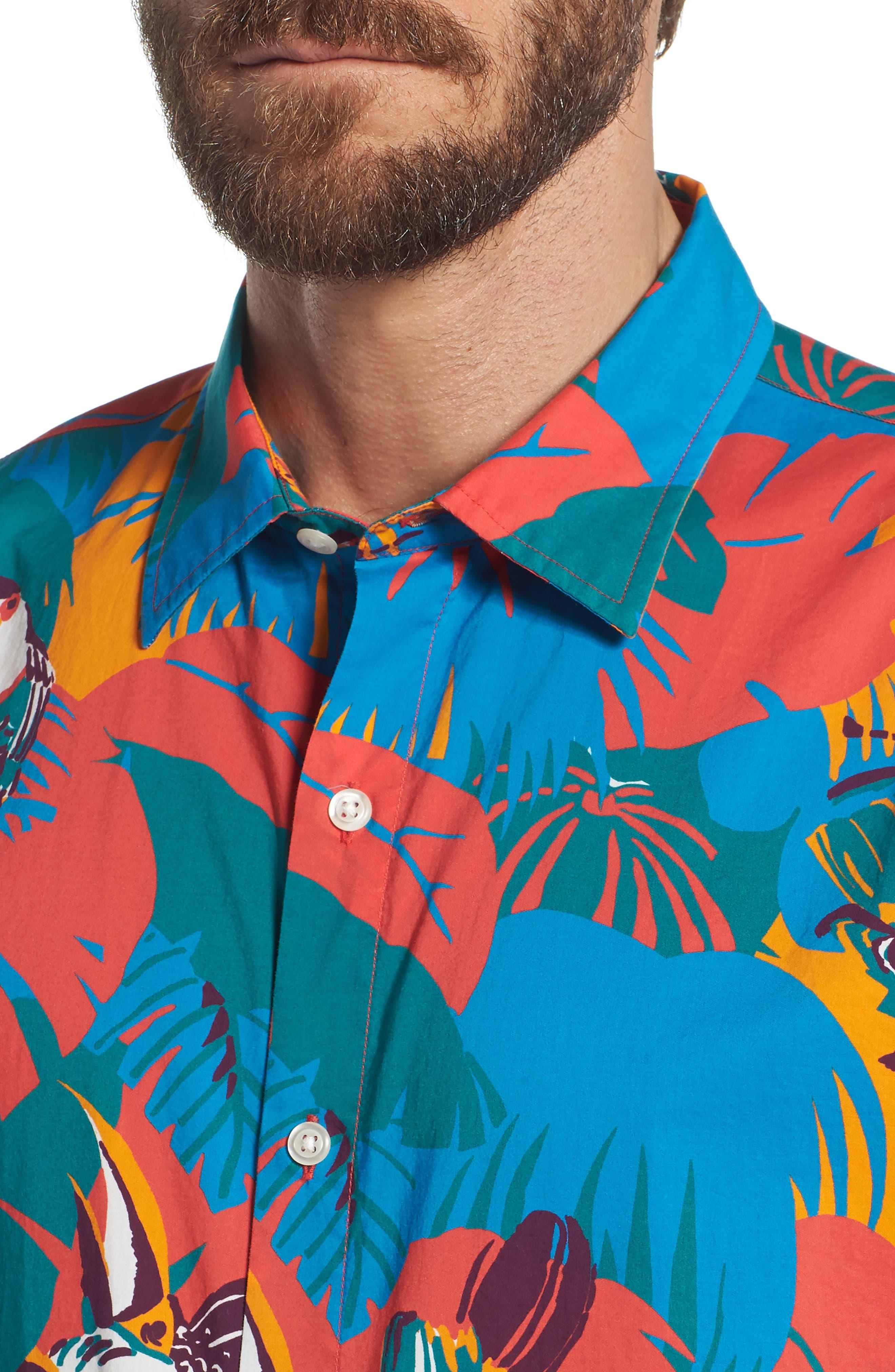 Slim Fit Print Sport Shirt,                             Alternate thumbnail 4, color,                             400