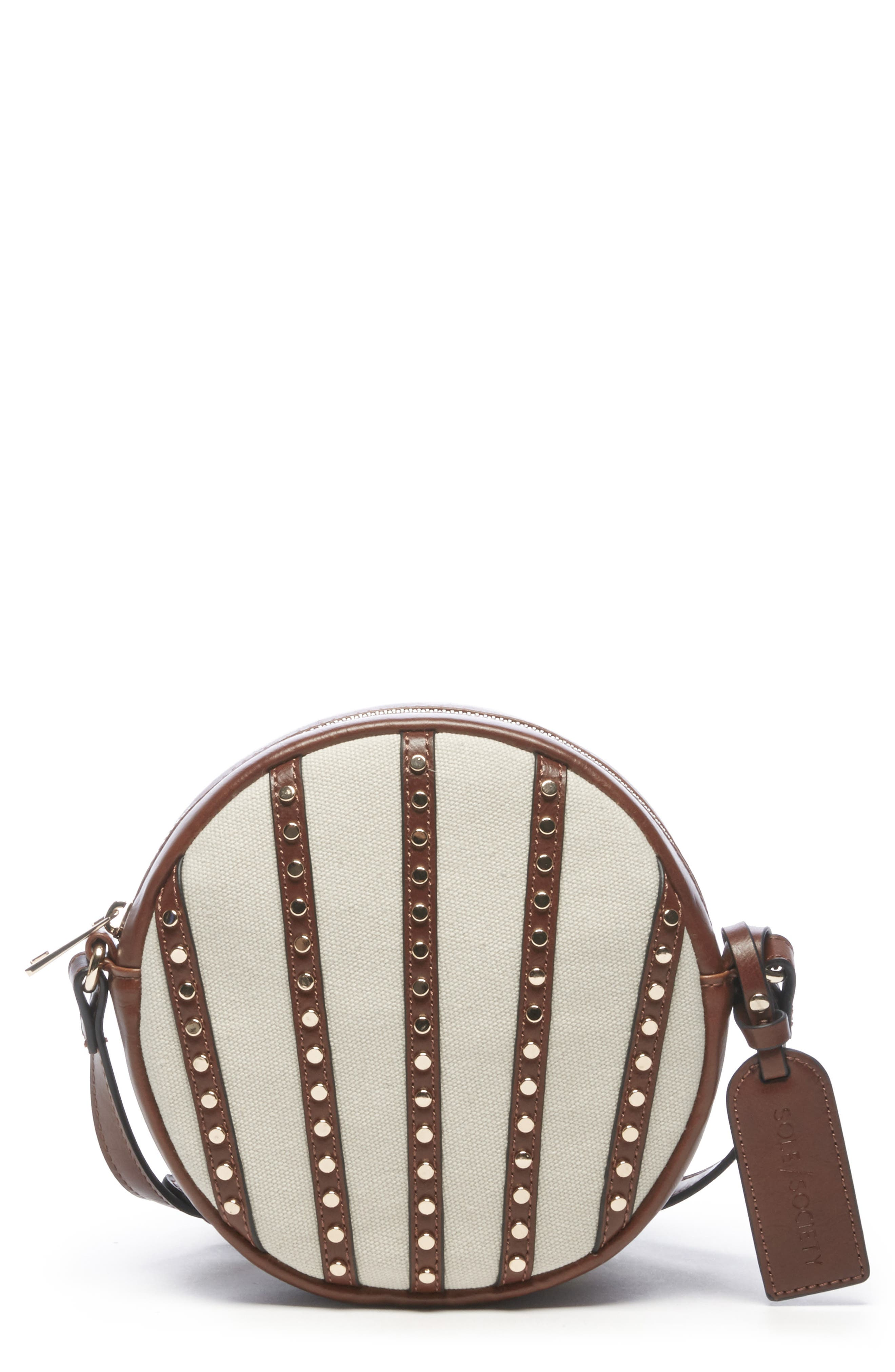 Aira Studded Crossbody Bag,                             Main thumbnail 1, color,                             NATURAL